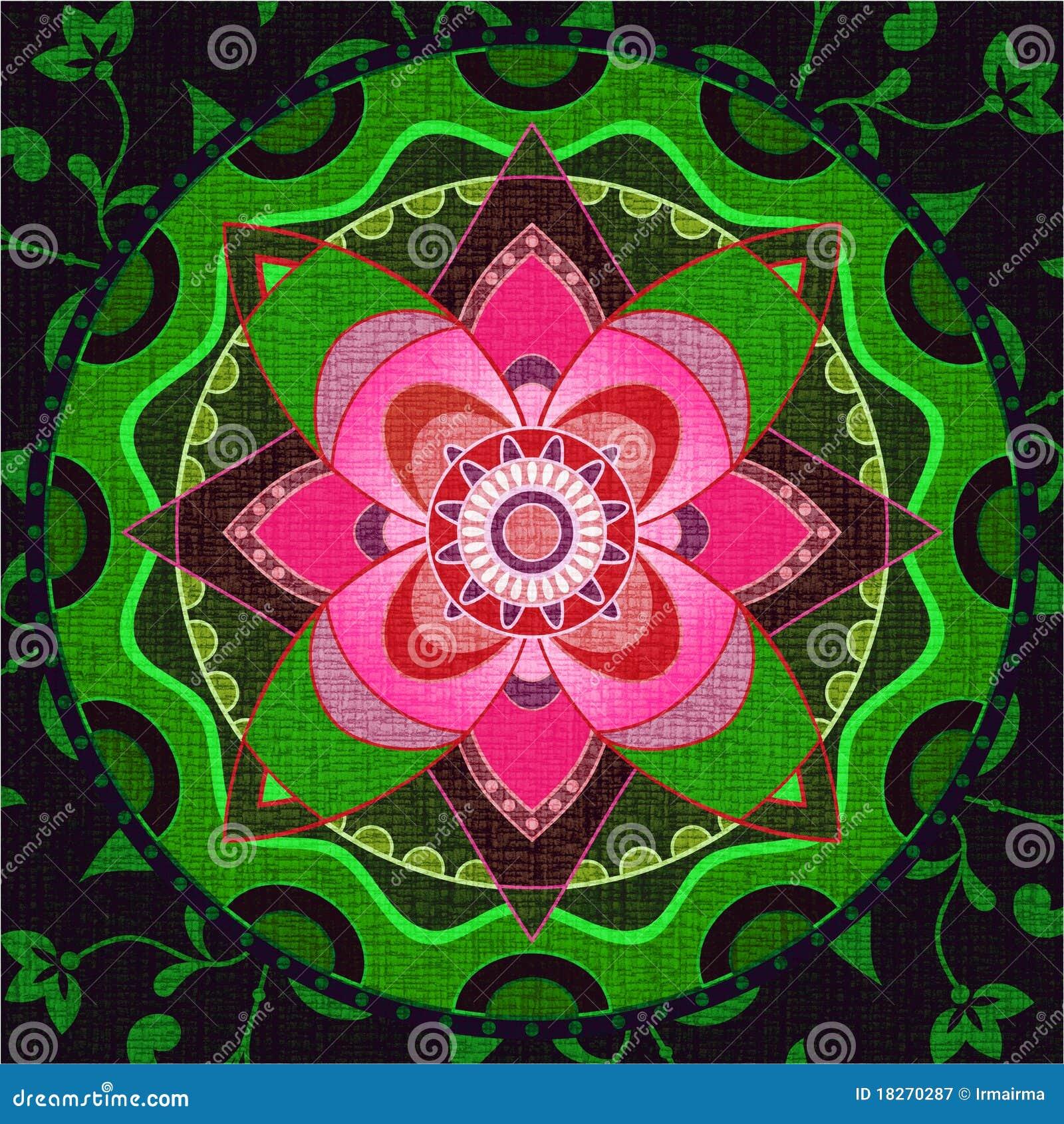 Mandala verde y rosada