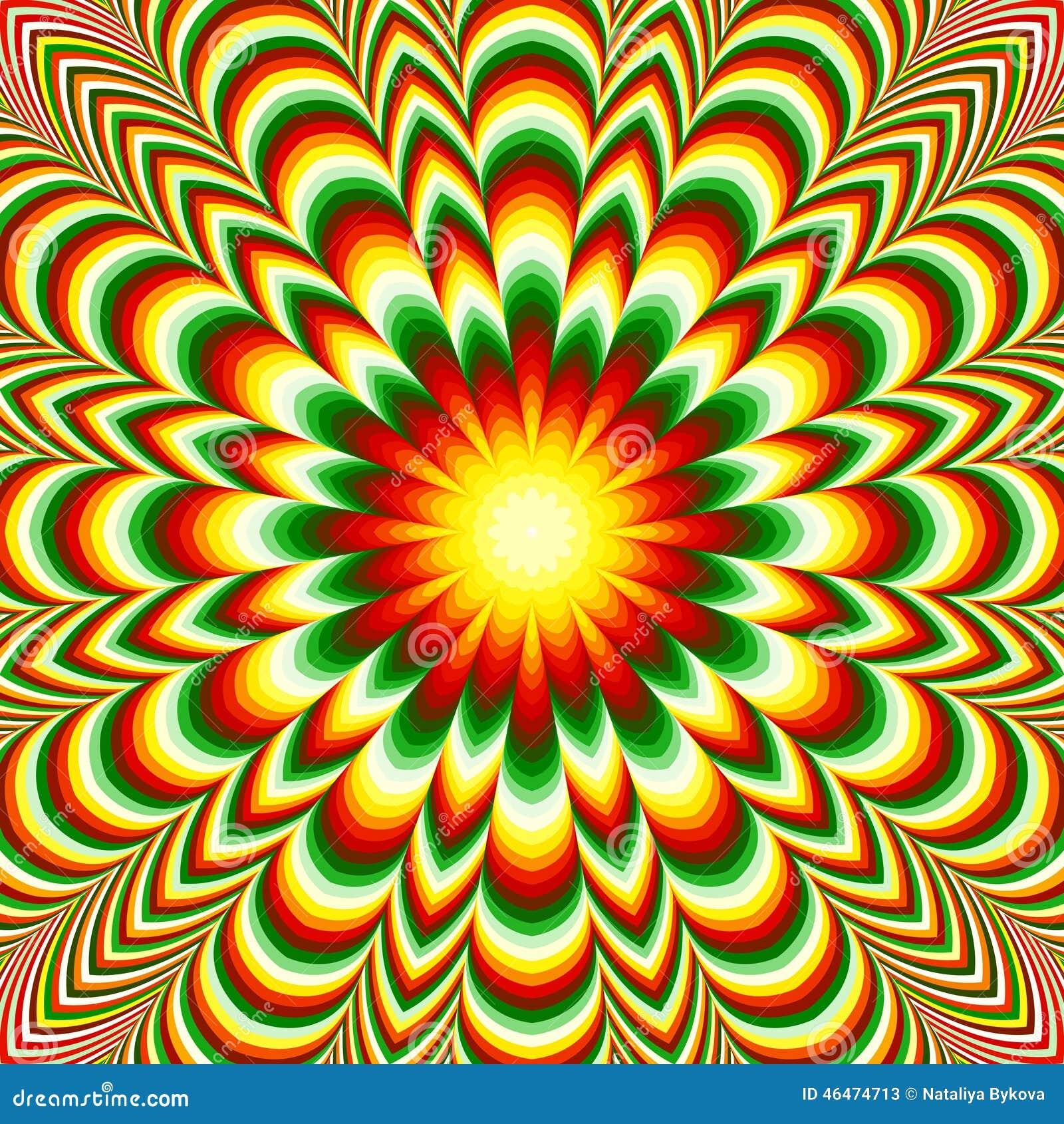Mandala vif de fleur avec l 39 effet d 39 illusion optique for Effet d optique 3d