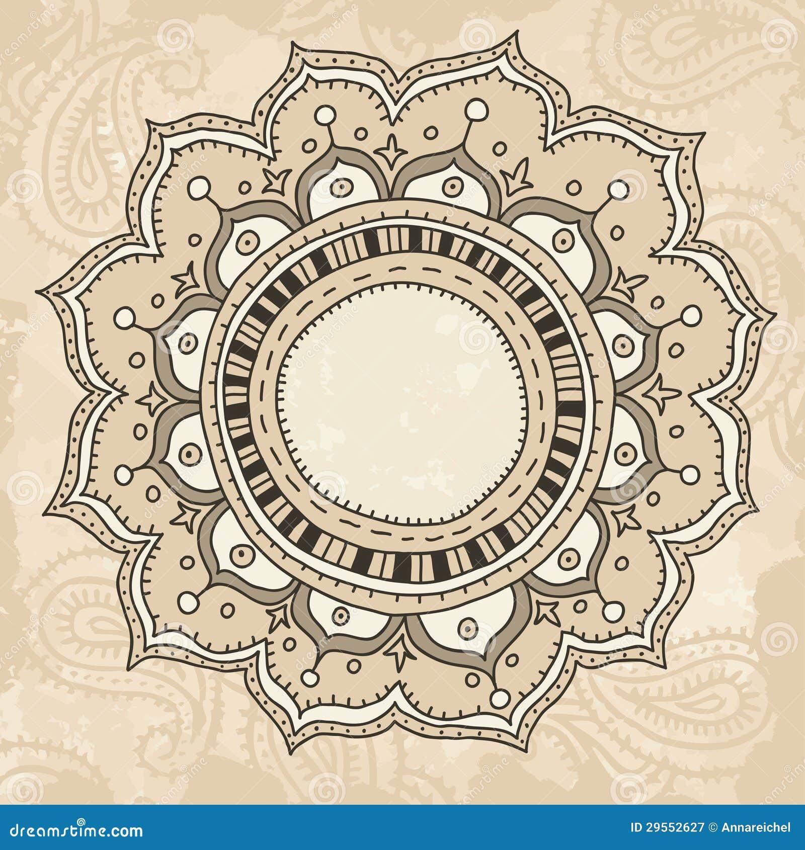 Mandala On Vintage Background Stock Vector - Illustration of paisley ...