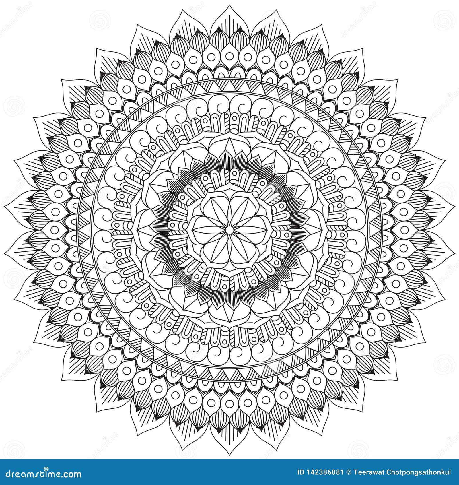 Mandala W zawiły sposób wzorów Czarny I Biały Dobry nastrój