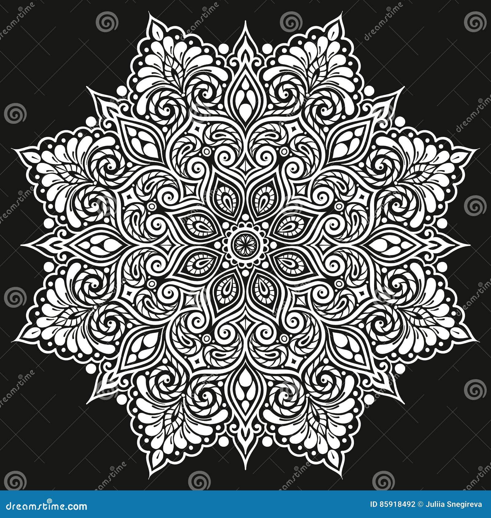 Mandala Wektorowy Tatuaż Doskonalić Kartę Dla Urodziny
