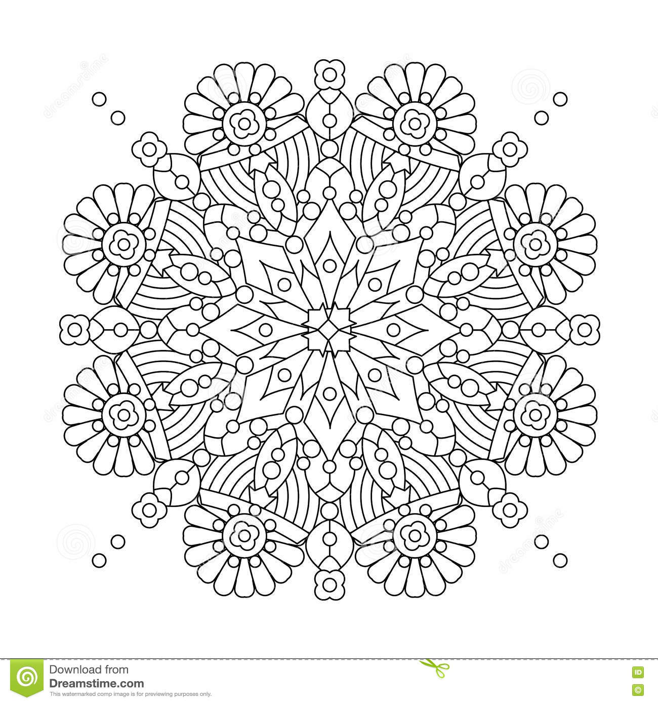 mandala or whimsical snowflake line art design stock vector