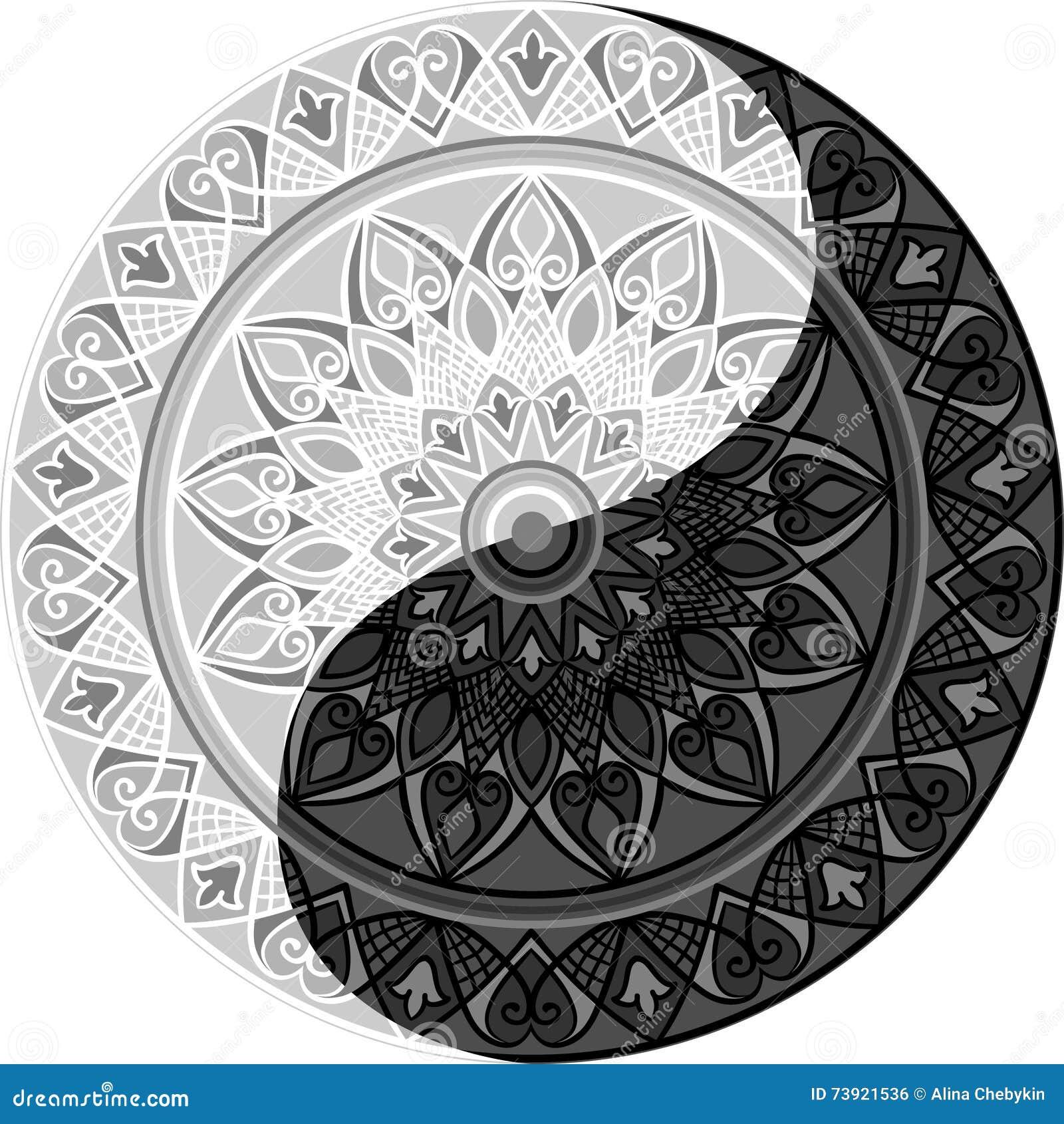 mandala yin yang vector illustratie illustratie bestaande Mandala Yin Yang Design Yin Yang Mandala Coloring Pages