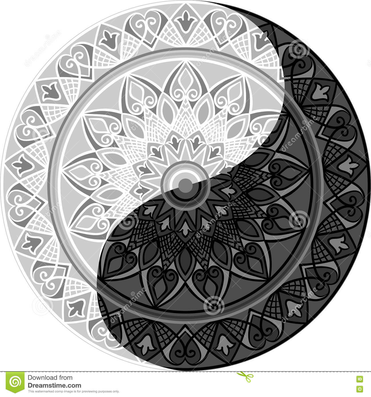 Mandala Yin Yang Stock Vector Illustration Of Balance 73921536