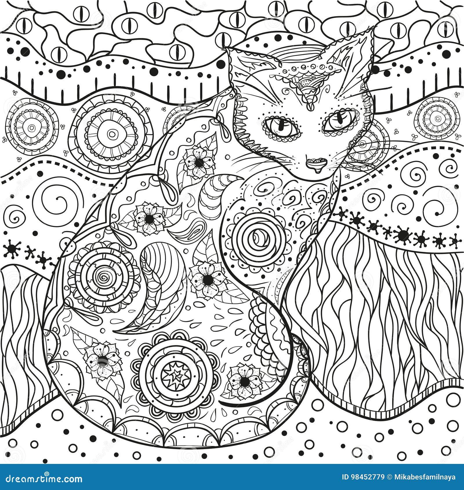 Mandala Zentangle Hand Gezeichnet Vektor Abbildung - Illustration ...