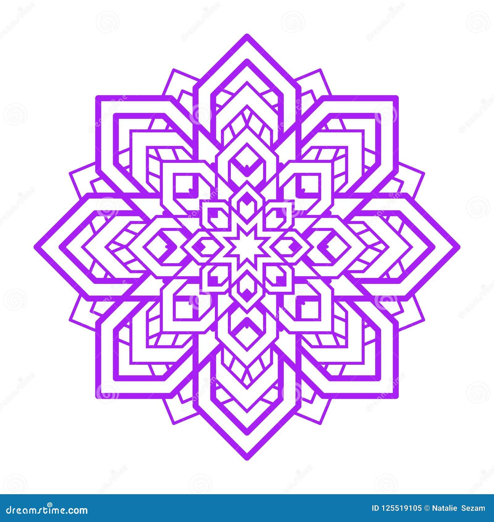 Mandalabloem Het vectorelement van het yogaontwerp Abstract rond symbool Violette bloemenillustratie Modern idee voor yoga, medit