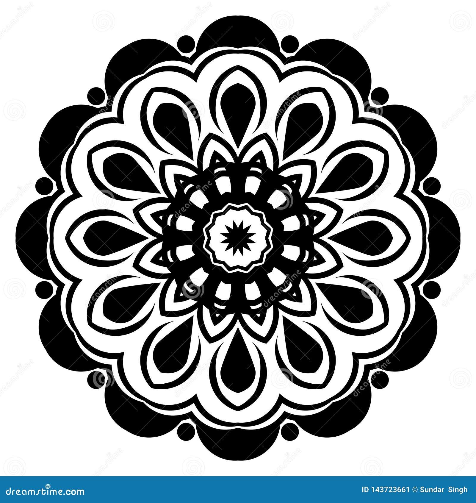 Mandalamusterschwarzes ein Hintergrund Auch im corel abgehobenen Betrag Meditationselement f?r Indien-Yoga Verzierung f?r die Ver