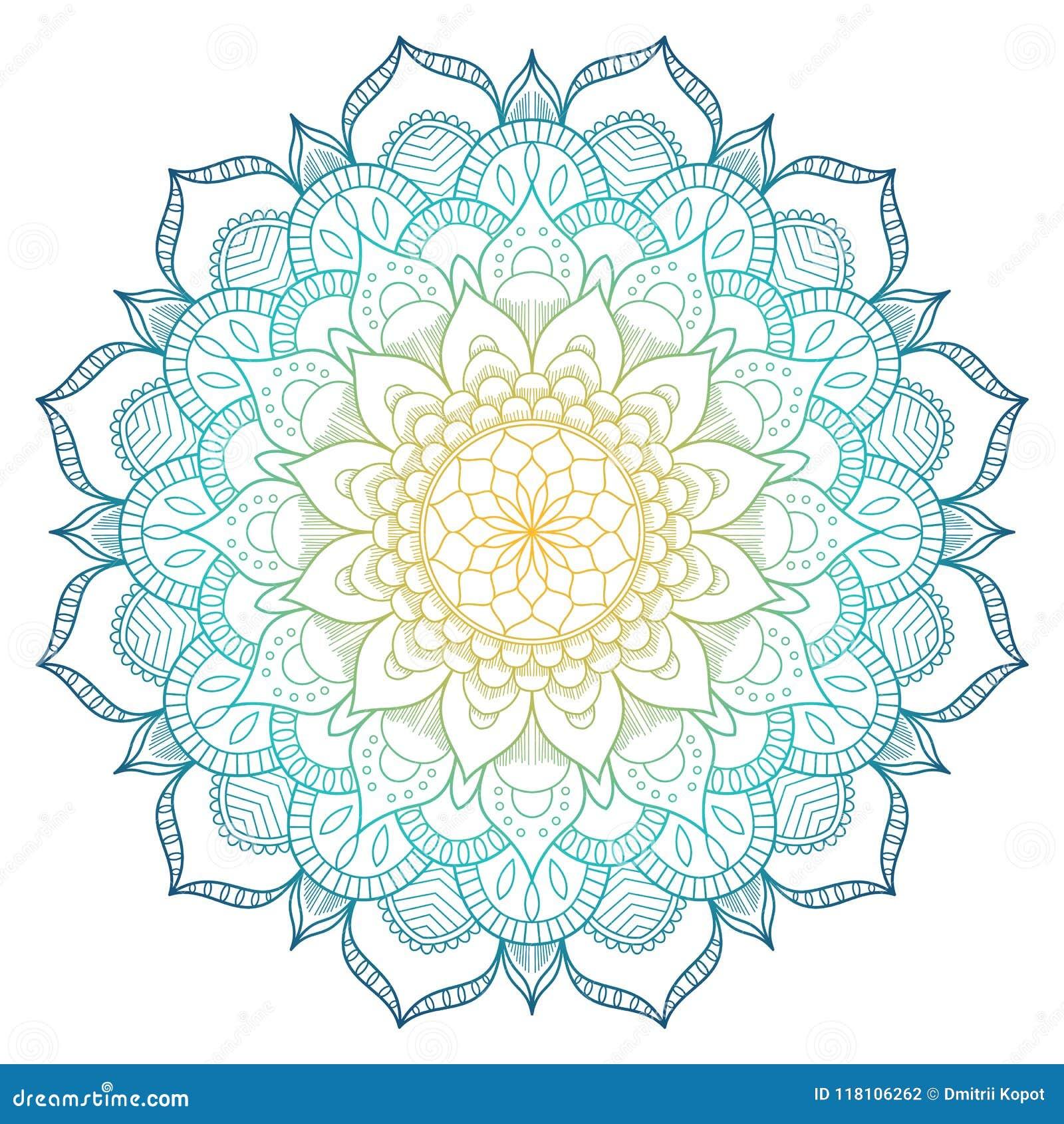 Mandalapatroon gekleurde achtergrond Vector illustratie Meditatieelement voor de yoga van India Ornament voor het verfraaien van