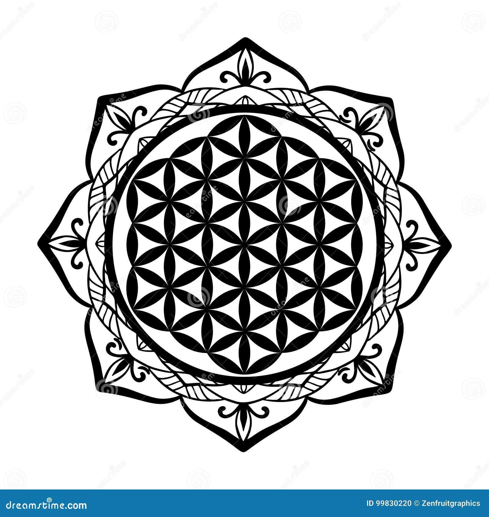 Mandalarahmen und Blume des Lebens tätowieren oder schablonieren Schablone, heilige Geometriesymbol Alchimie, Geistigkeit, Religi