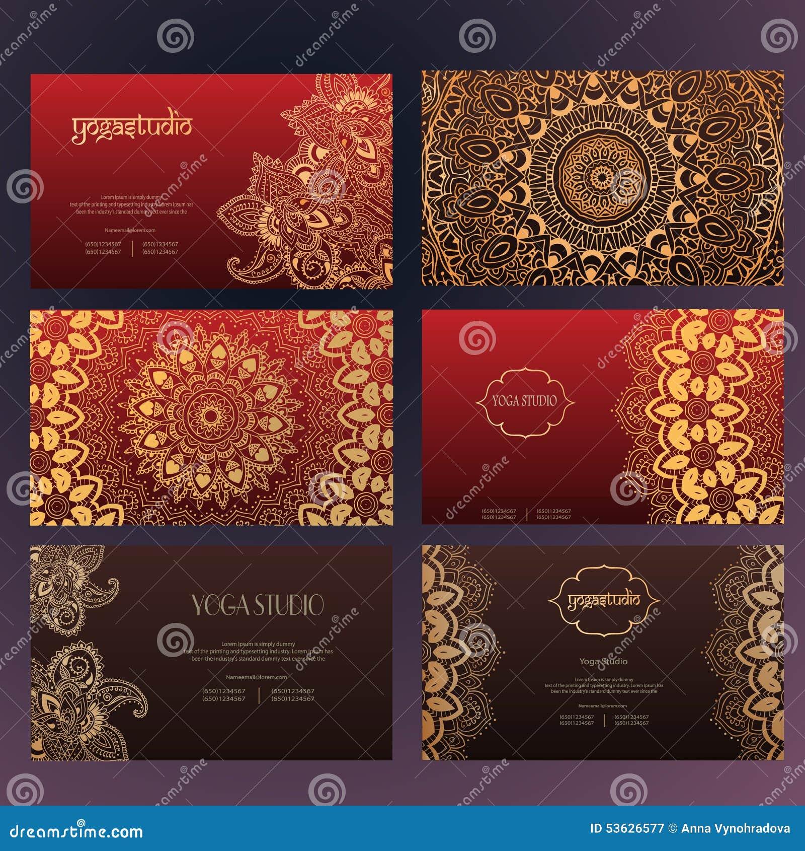mandalas business card 4 yoga stock vector