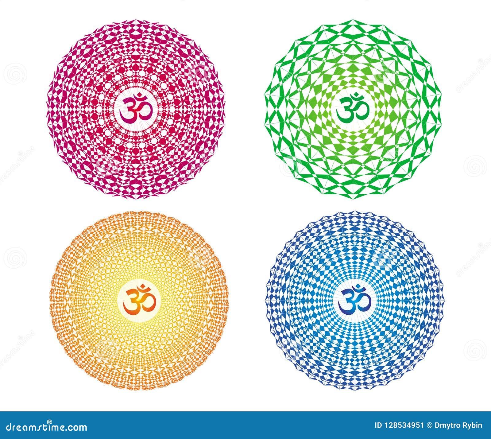 4 Mandalas Coloridas Com O Sinal Aum Ohm Om Desenho Do Vetor