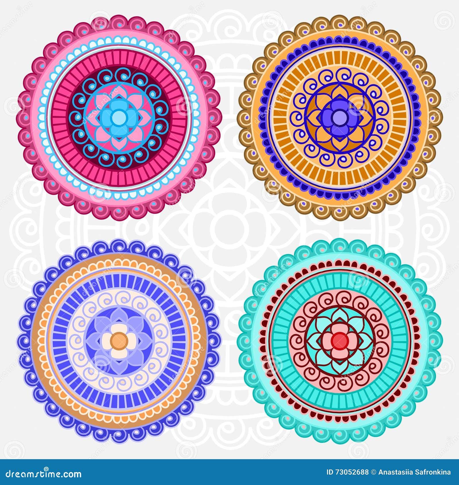 Mandalas Coloridas Do Vetor Ilustracao Do Vetor Ilustracao De