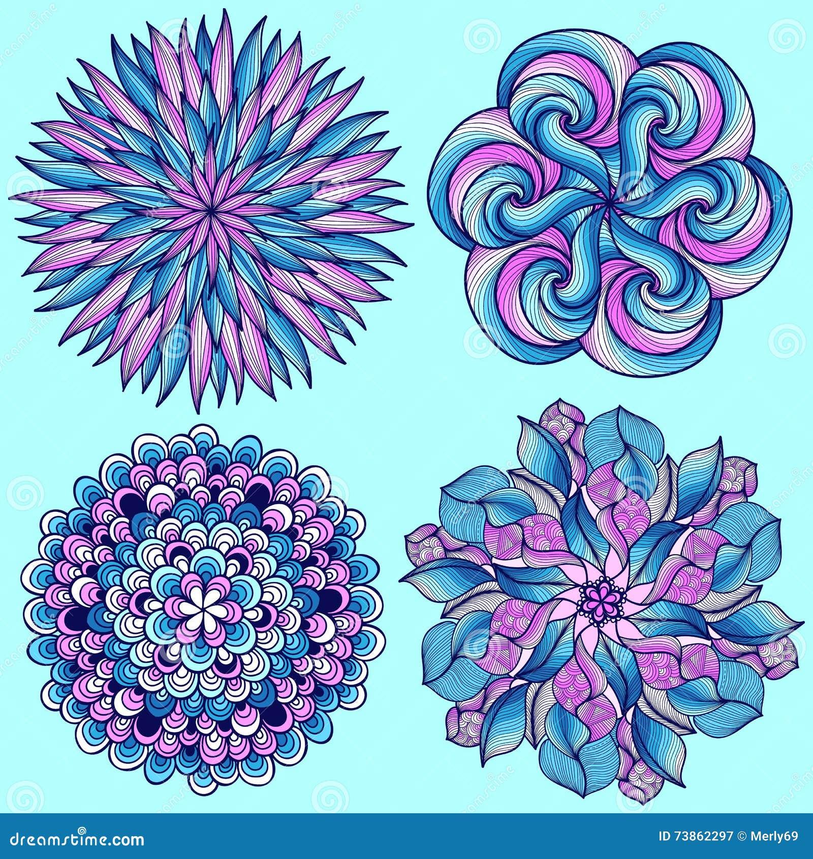 Mandalas del vector Sistema coloreado de la mandala Ornamento redondo oriental elemento asiático del diseño