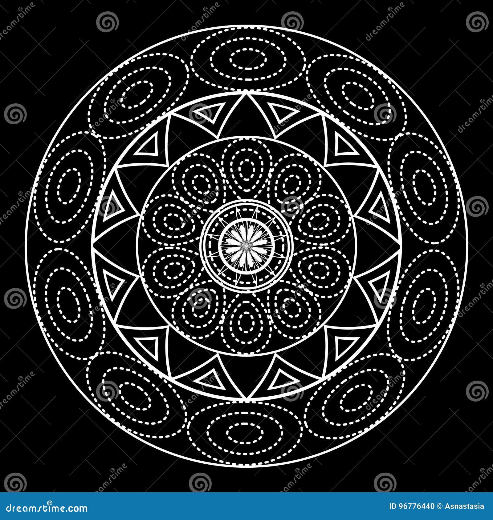 Mandalas Para El Libro De Colorear Ornamento Redondo Blanco Y Negro ...