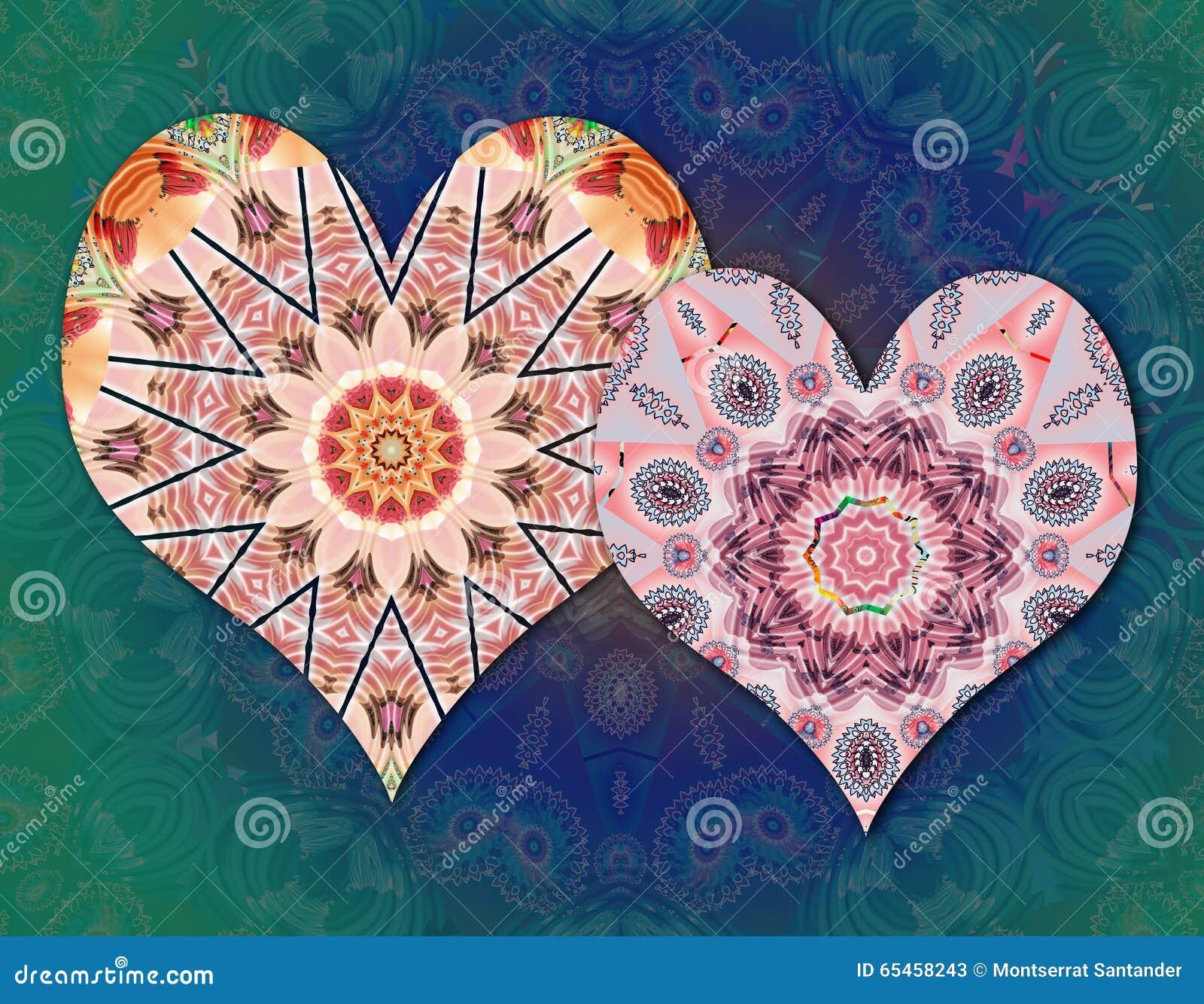 Mandalas Van Liefdeharten Stock Illustratie Illustratie Bestaande