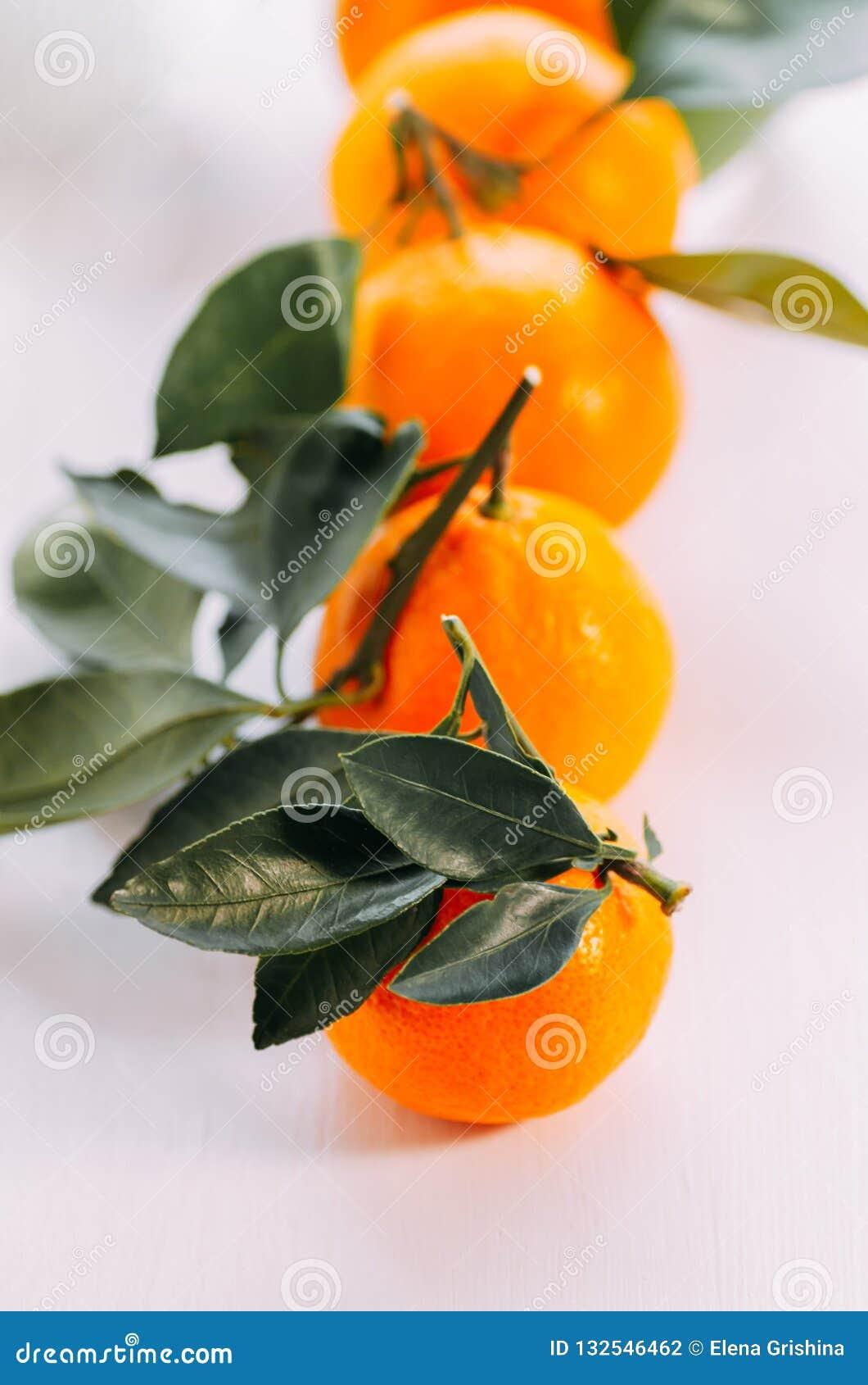 Mandarín fresco anaranjado maduro en un fondo blanco Cinco mandarinas con verde en un fondo blanco