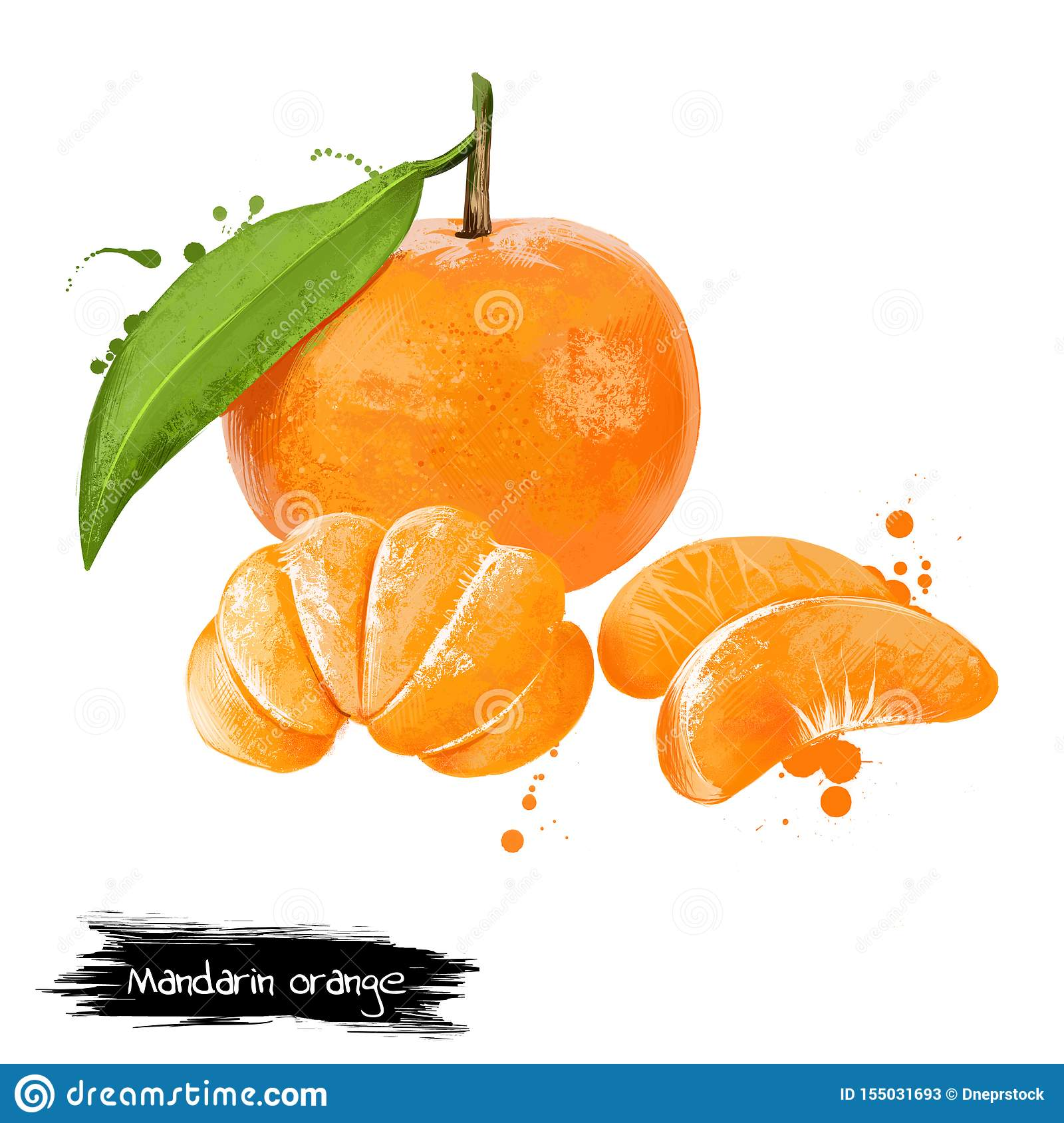 Mandarin, tangerine citrus fruit isolated on white background