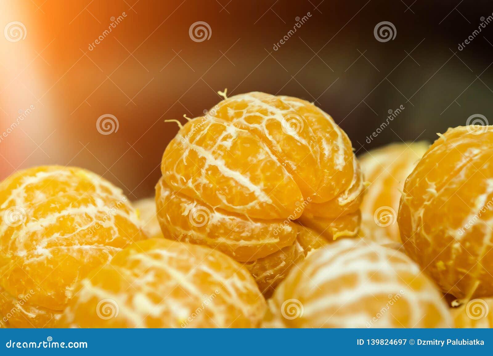 Mandarinas sin la cáscara