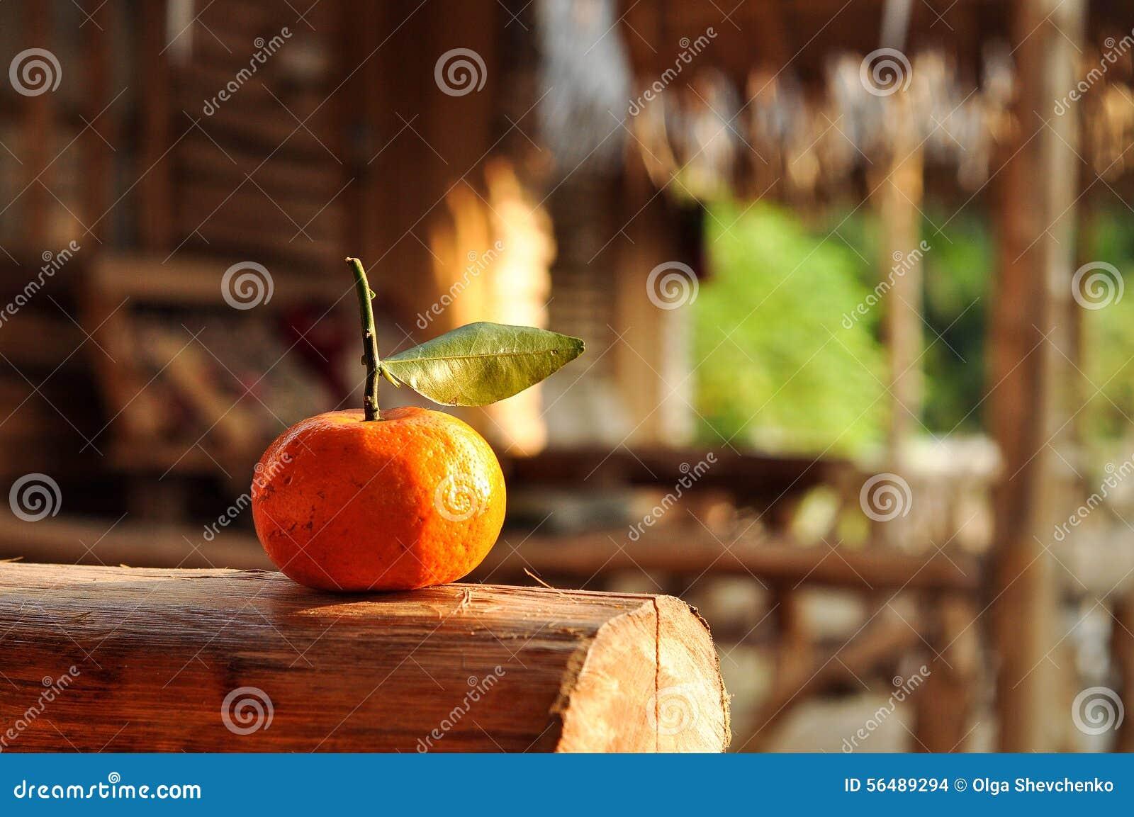 Mandarine avec la lame