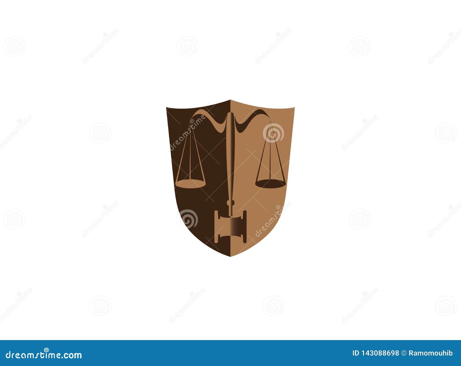 Mandataire d équilibre et de marteau dans un avocat de bouclier pour la conception de logo