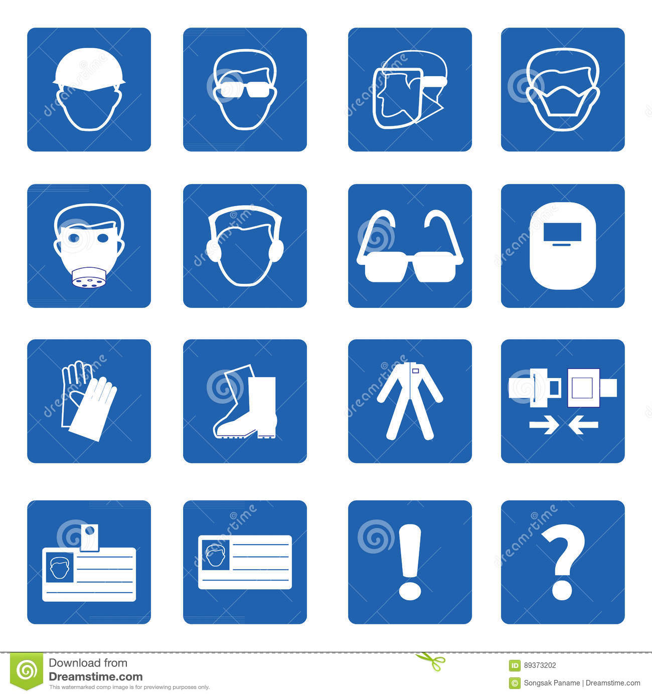 Blue pyramid health and safety icon collection stock vector.