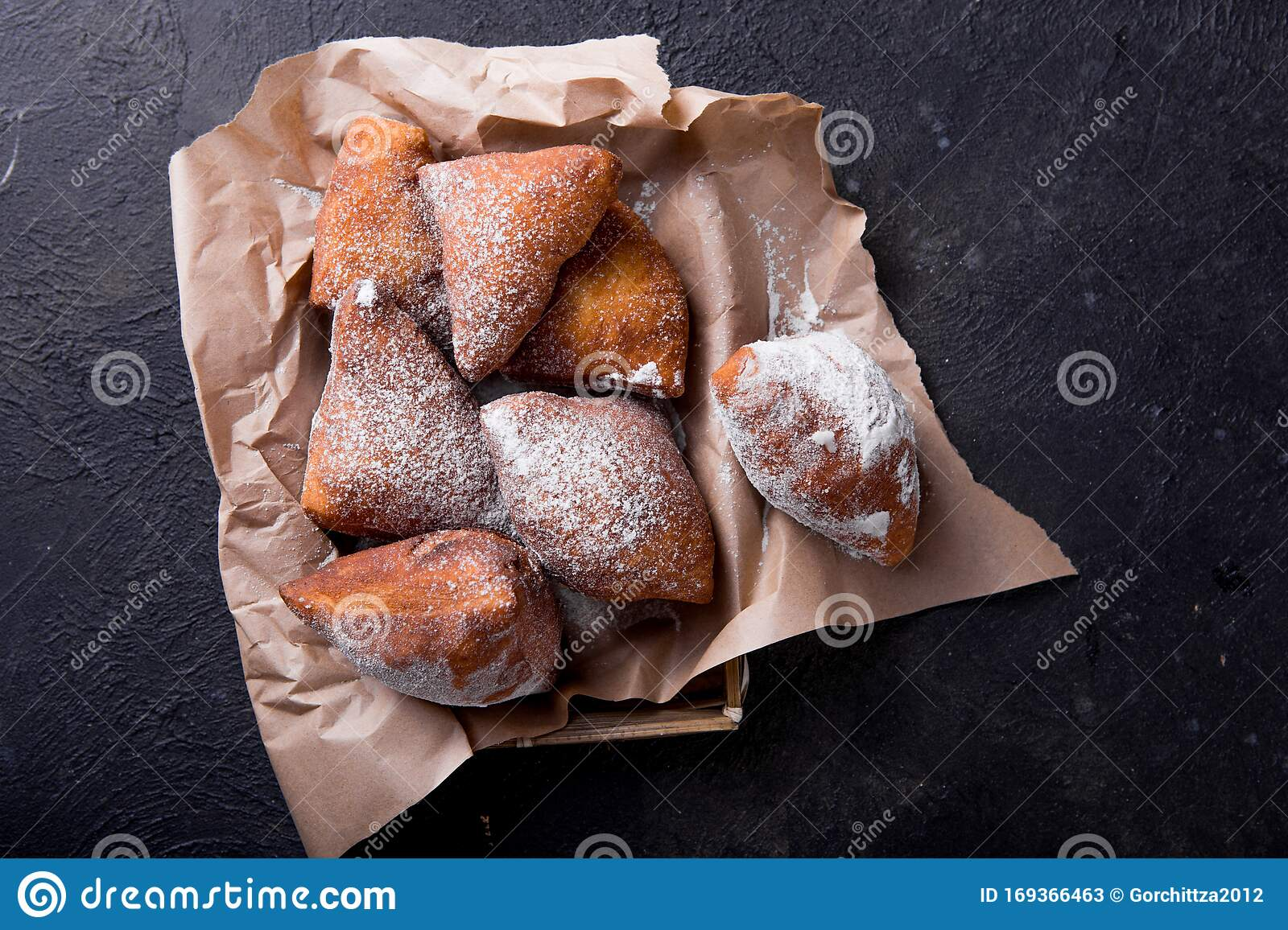 Mandazi Is A Slightly Sweet East African Street Food Top View From Above Stock Image Image Of Basket Dessert 169366463