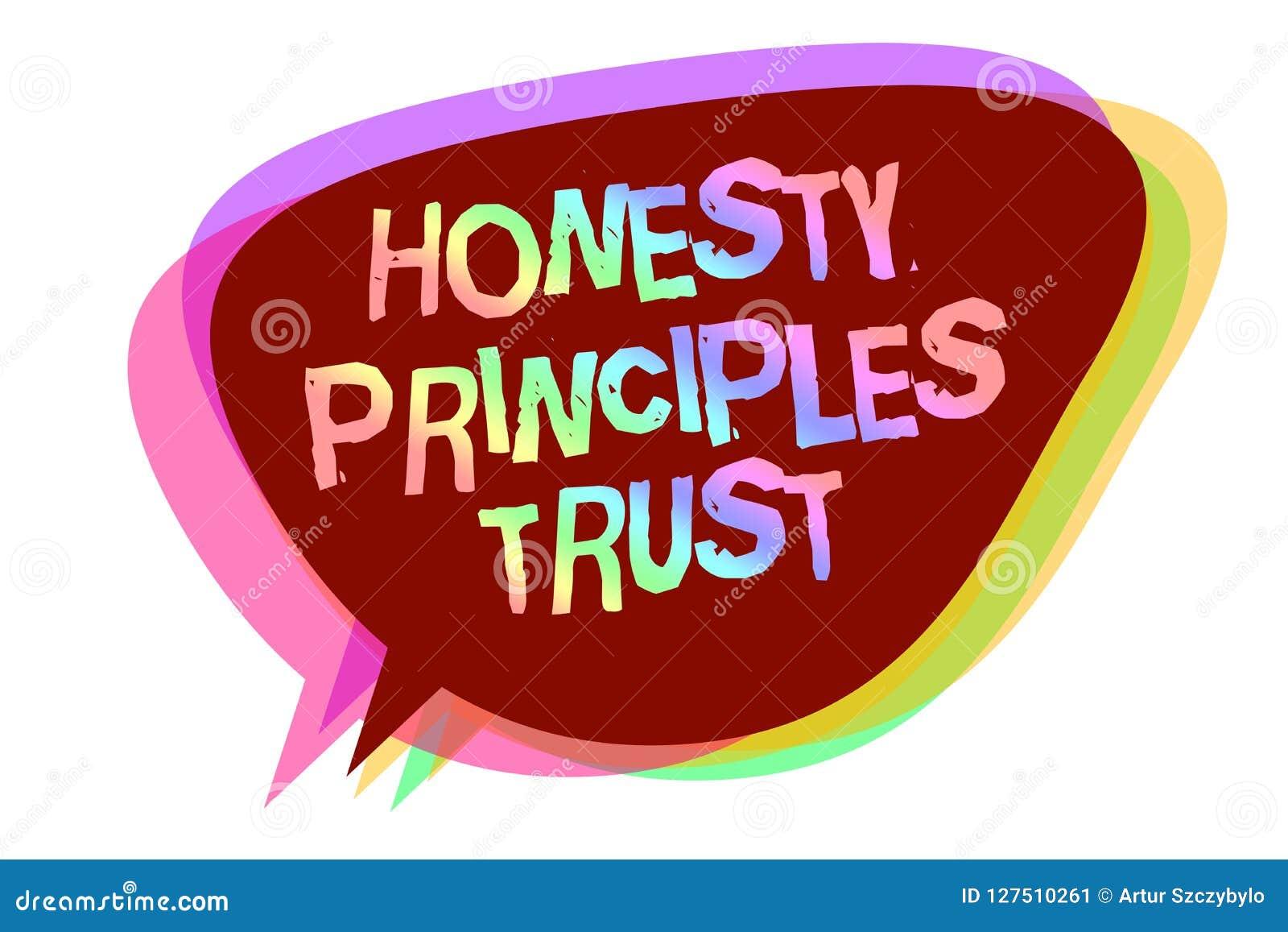 Mande un SMS a la muestra que muestra a confianza de los principios de la honradez la foto conceptual que cree alguien las palabr