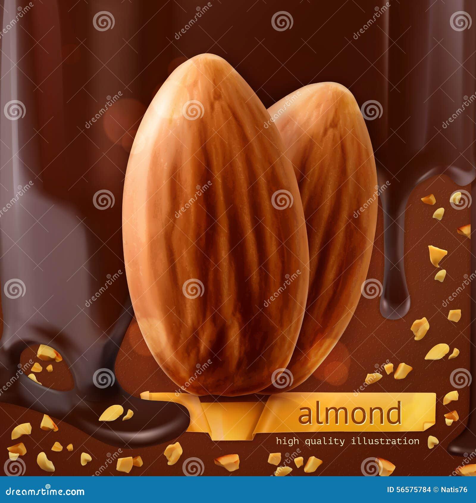Mandeln auf Schokoladenhintergrund