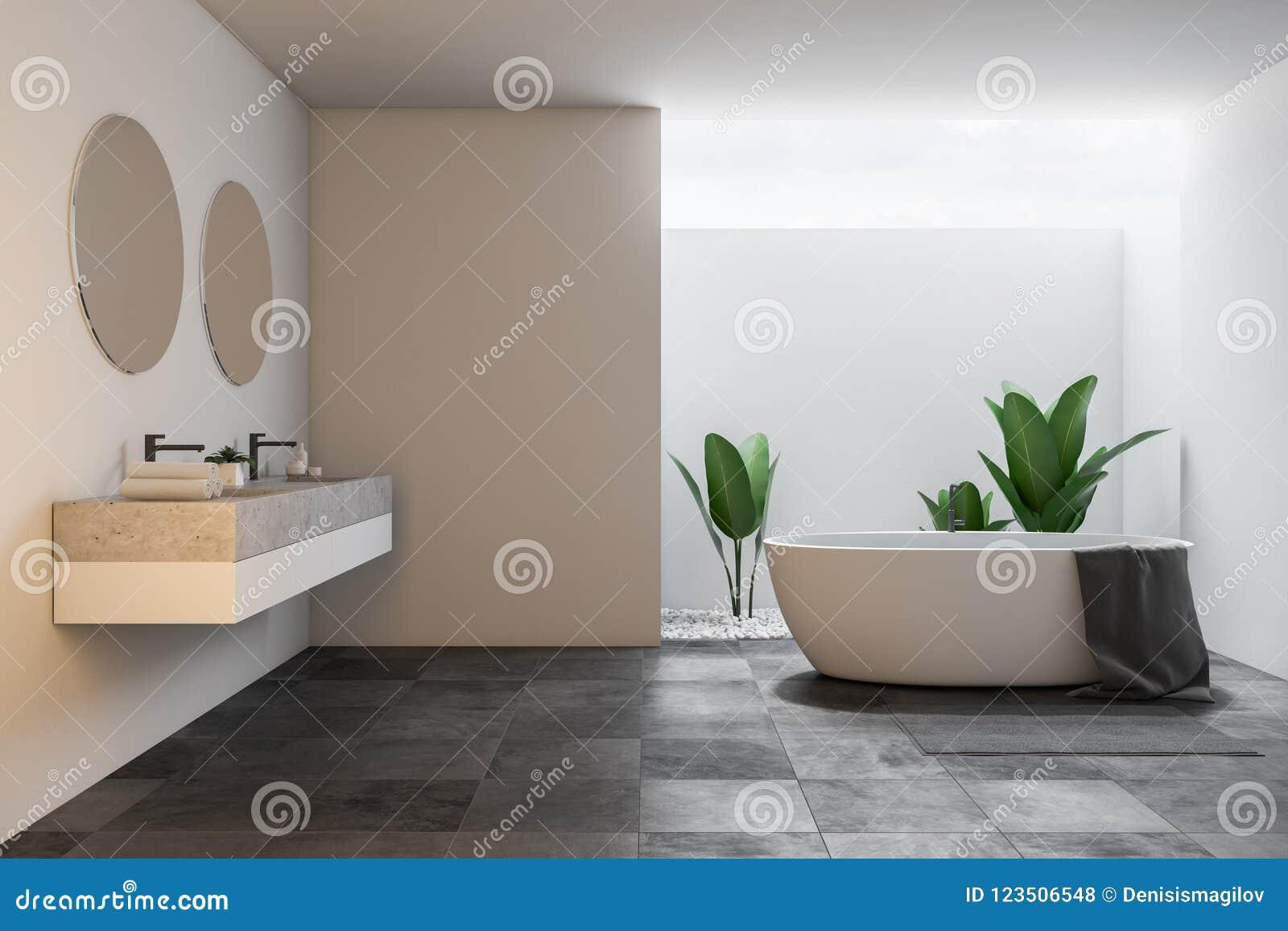 Mandi in aria il grandi interno vasca e lavandino bianchi del