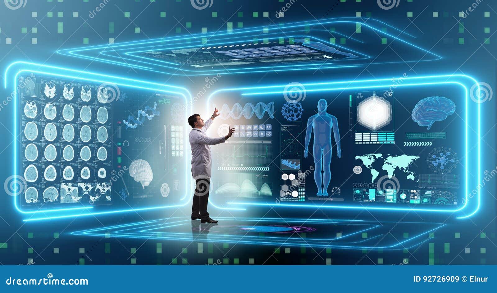 Mandoktorn i futuristiskt medicinläkarundersökningbegrepp