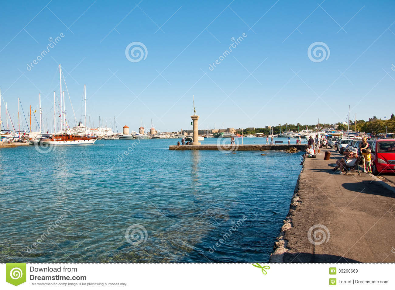 Mandraki Harbor And The Old Lighthouse. Editorial Stock ...