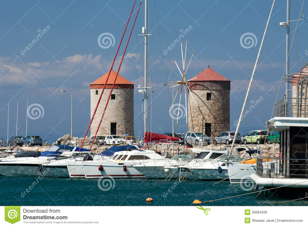 Mandraki Harbour In The Dodecanese Island Of Rhodes ...