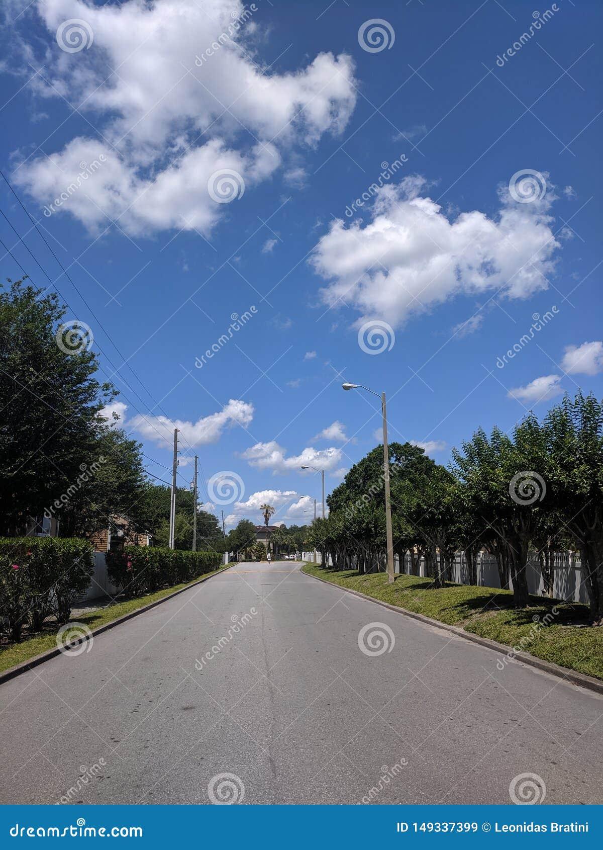 A maneira dianteira está em uma estrada