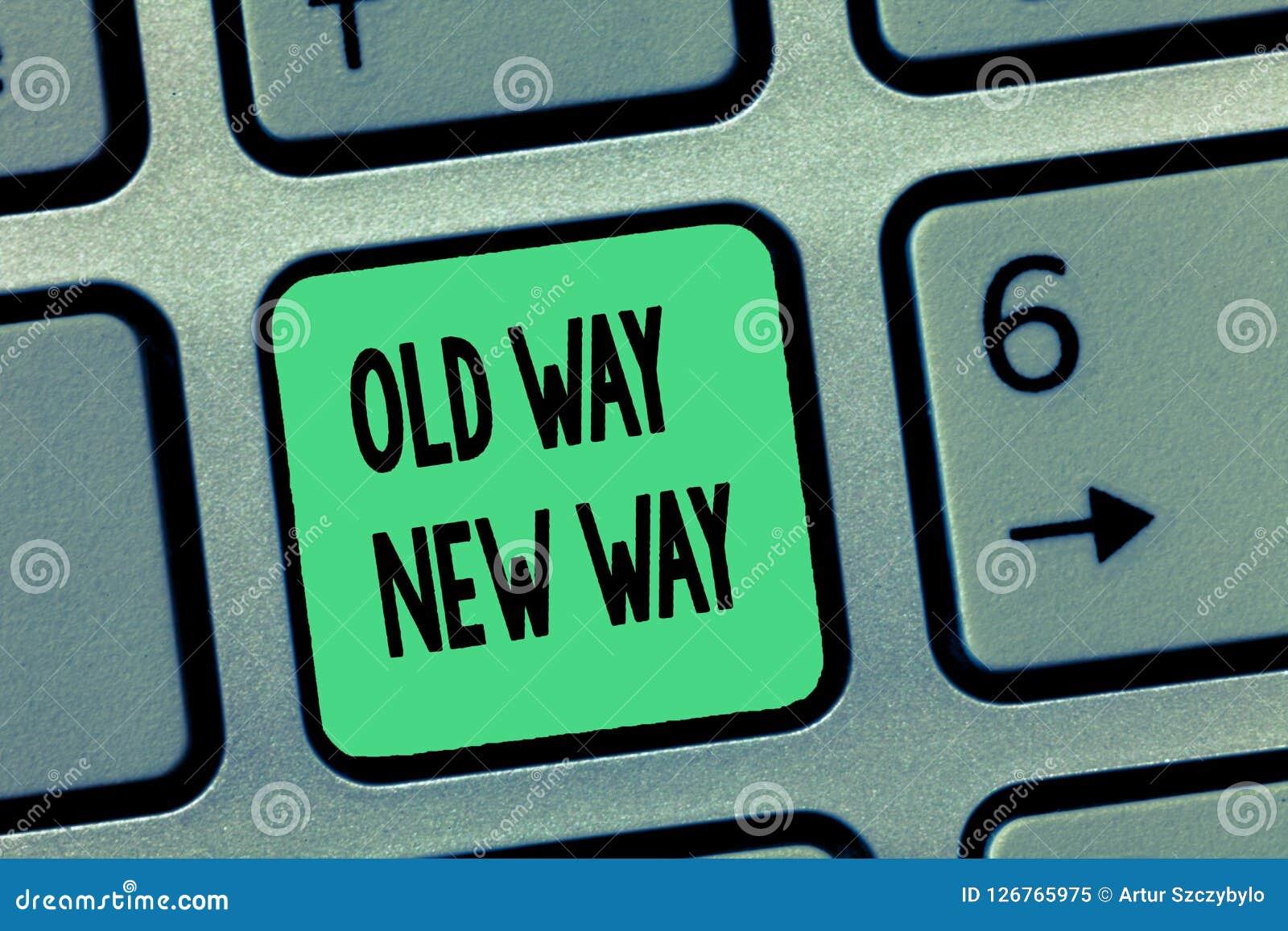 Maneira nova da maneira velha do texto da escrita da palavra Conceito do negócio para que a maneira diferente cumpra as finalidad