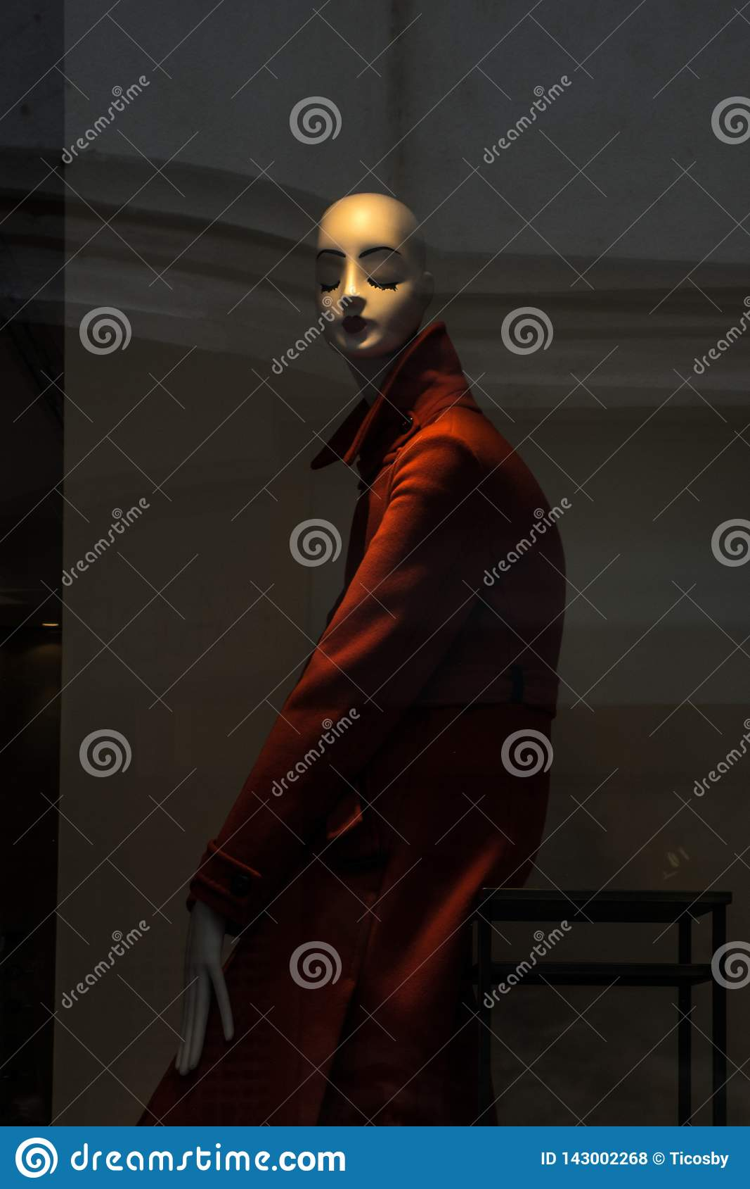 Manequim elegante do manequim vestido no vermelho na exposição