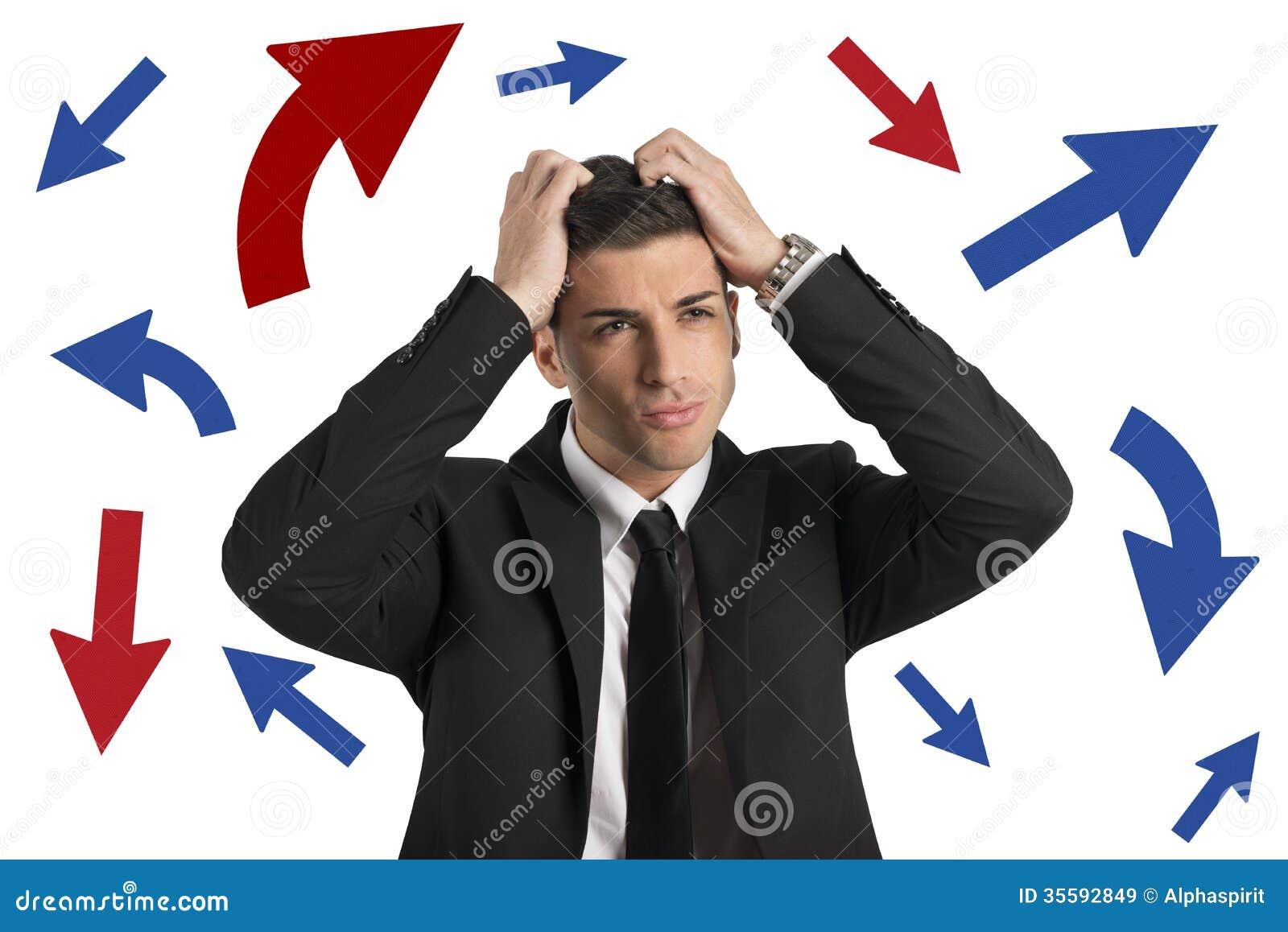 Manera confusa de un hombre de negocios