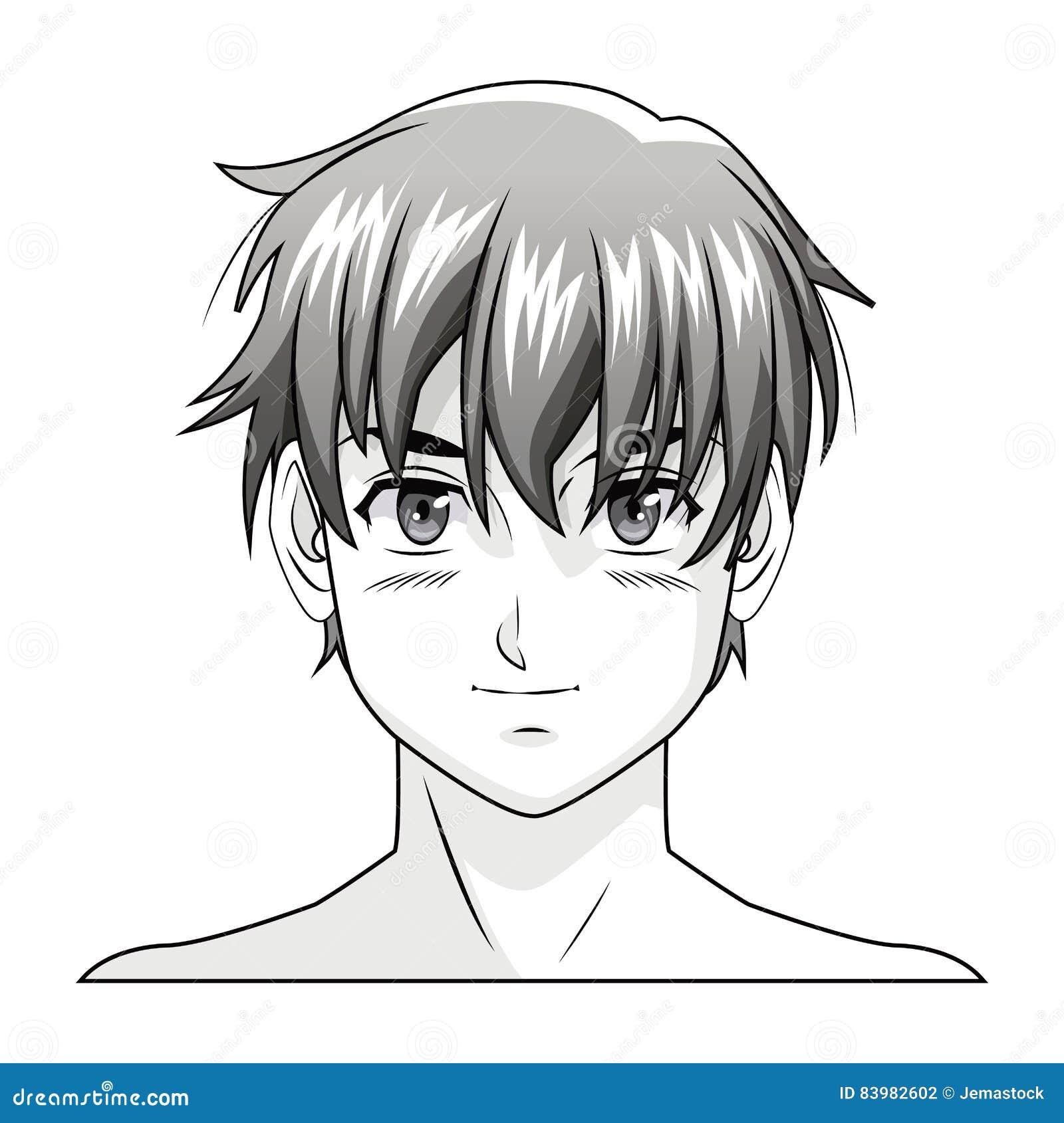 Manga d 39 anime de gar on de visage comique illustration de - Dessin manga visage ...