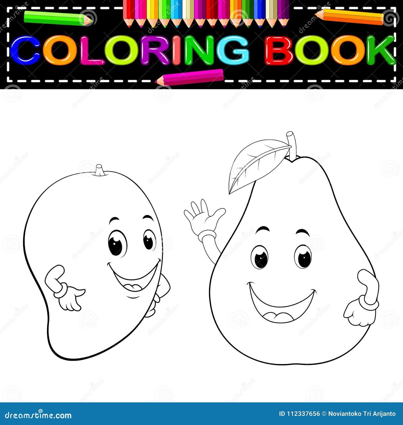 Manga E Abacate Com Livro Para Colorir Da Cara Ilustracao Do Vetor