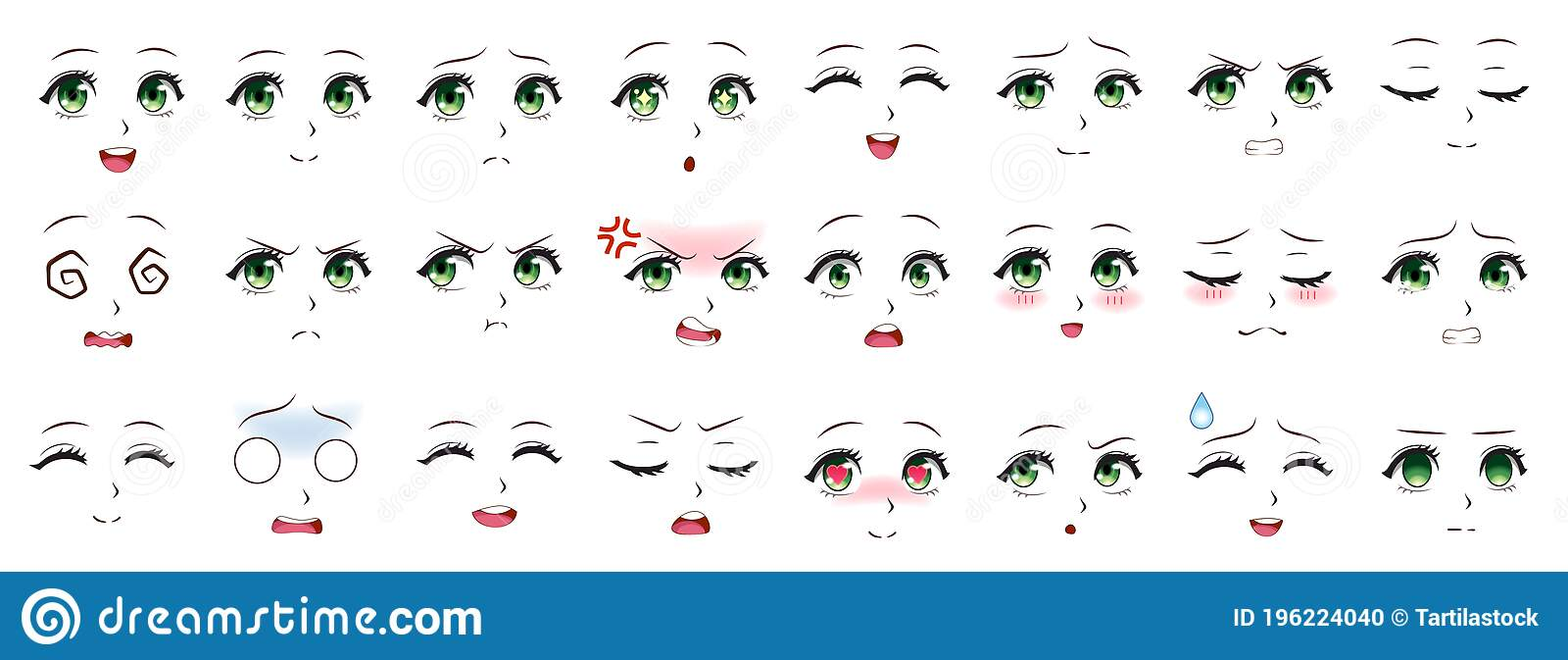 Manga Expression. Anime Girl Facial Expressions. Eyes, Mouth And