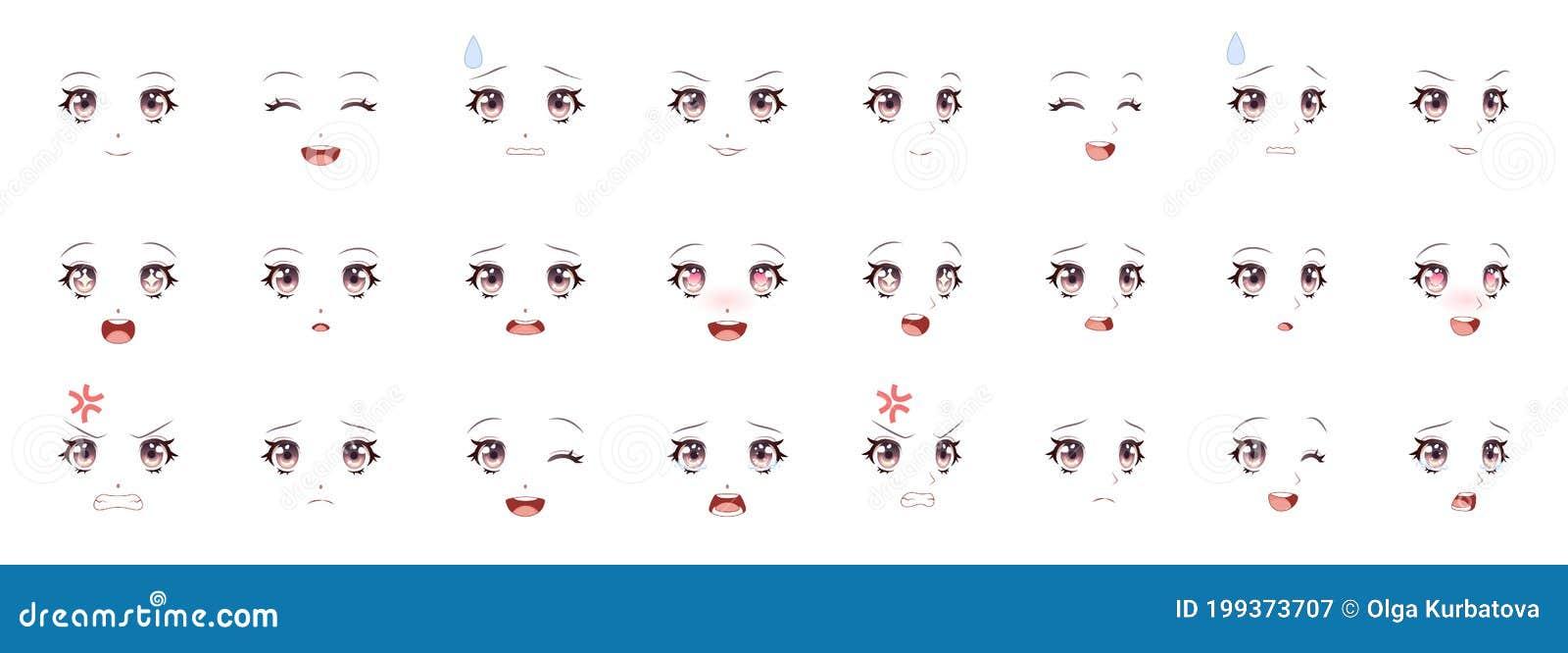 Manga Expression. Girl Eyes, Mouth, Eyebrows Anime Woman Faces