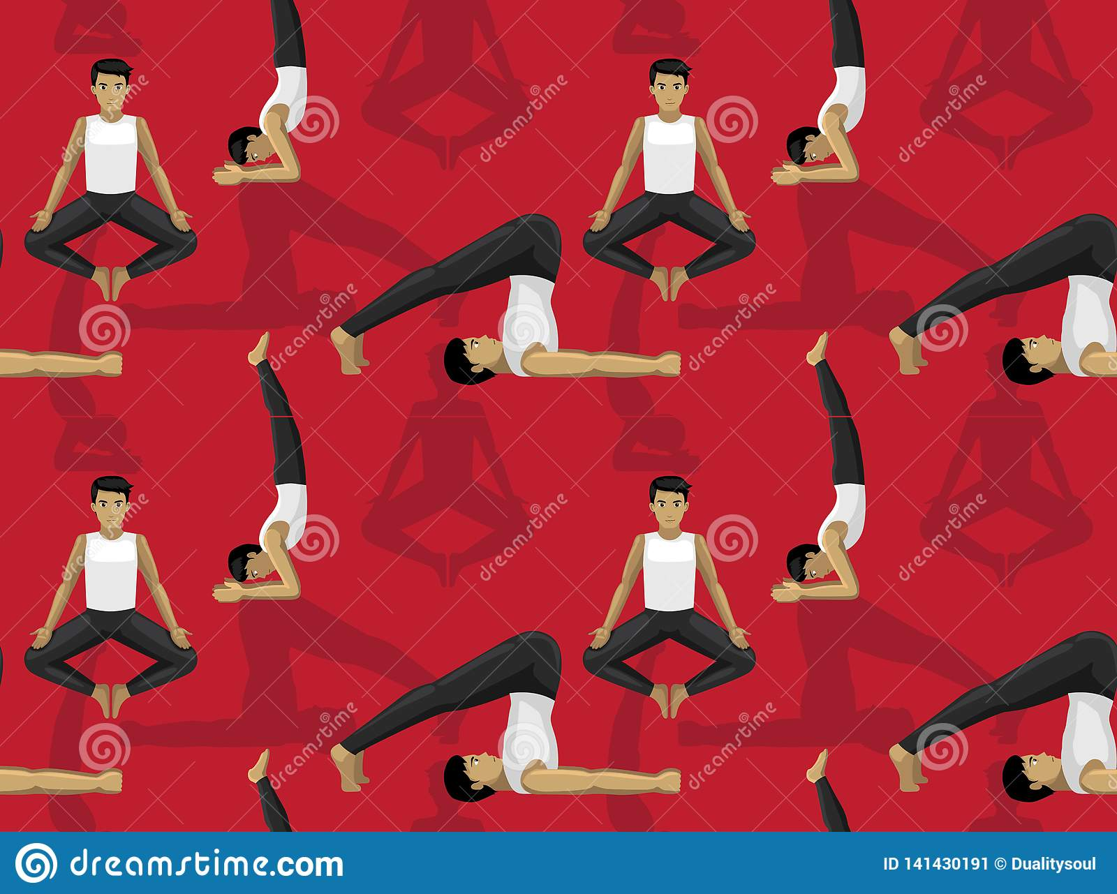Manga Yoga Plow Pose Man Cartoon Background Seamless Wallpaper Stock Vector Illustration Of Pattern Background 141430191