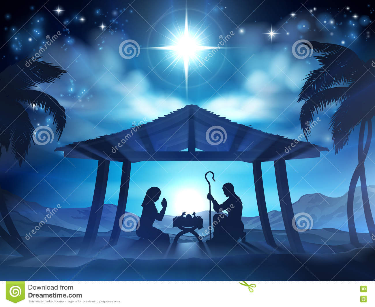 Manger Christmas Nativity Scene Stock Vector