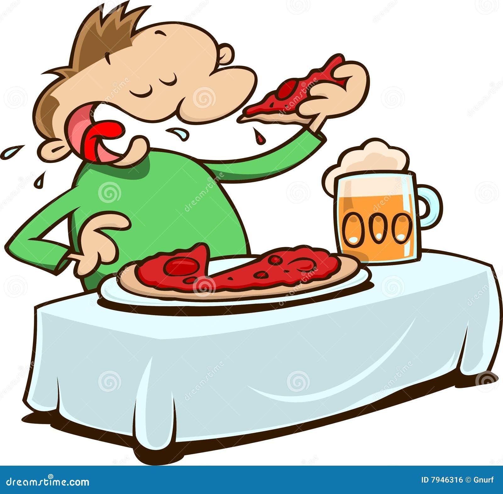 Manger de la pizza illustration de vecteur illustration du affam 7946316 - Dessin manger ...