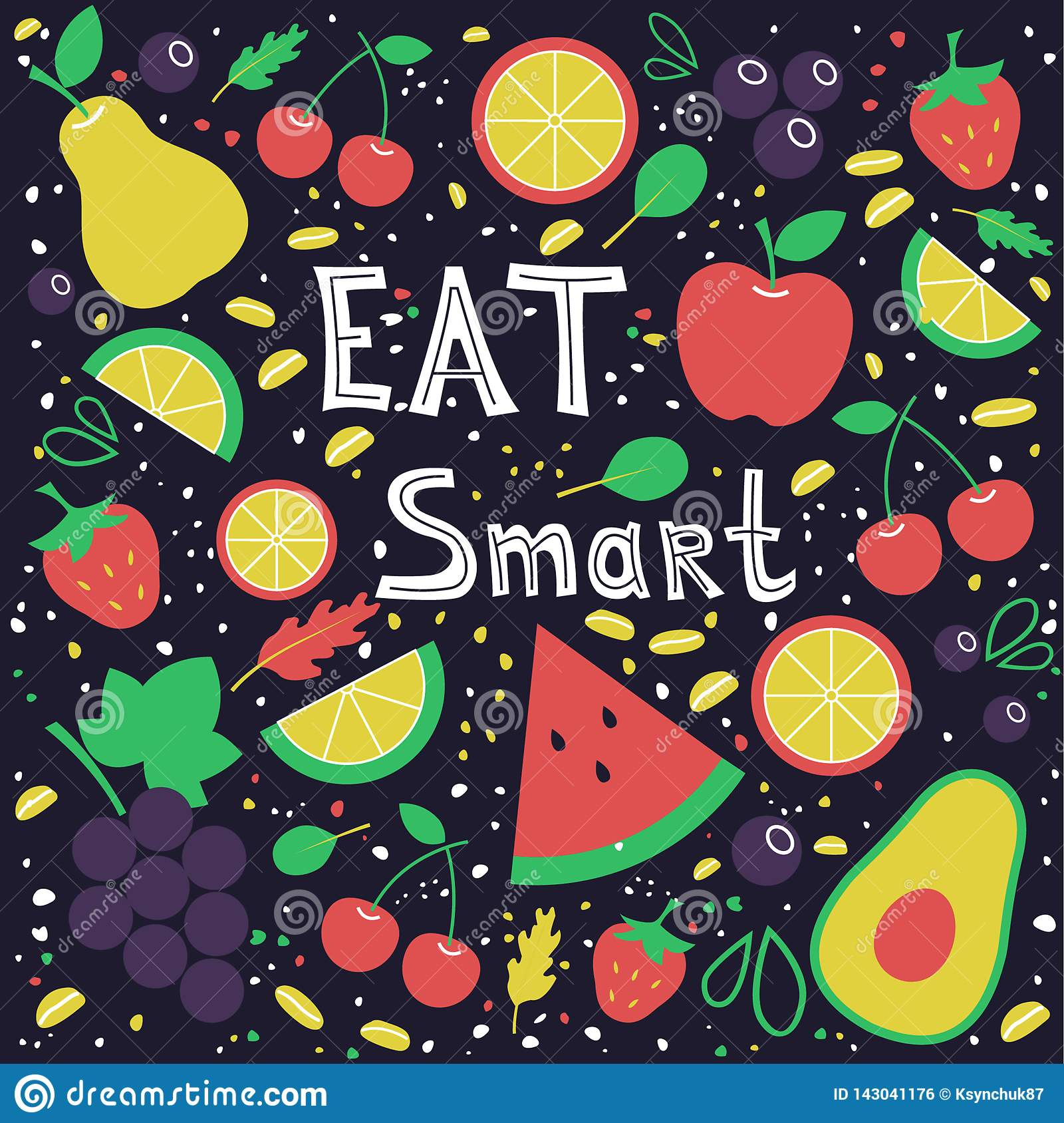 Mangez le concept futé Fruits Tiré par la main