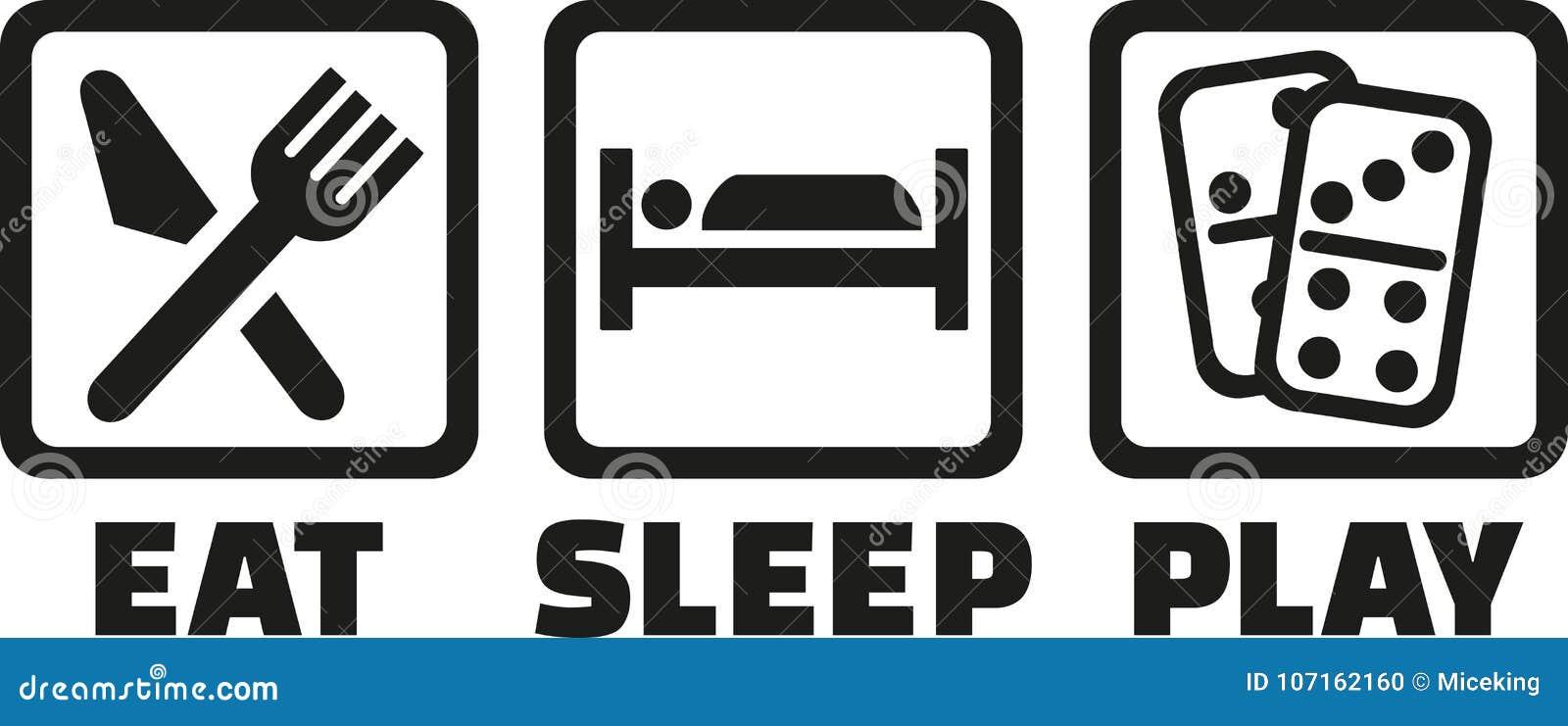 Mangez le domino de jeu de sommeil