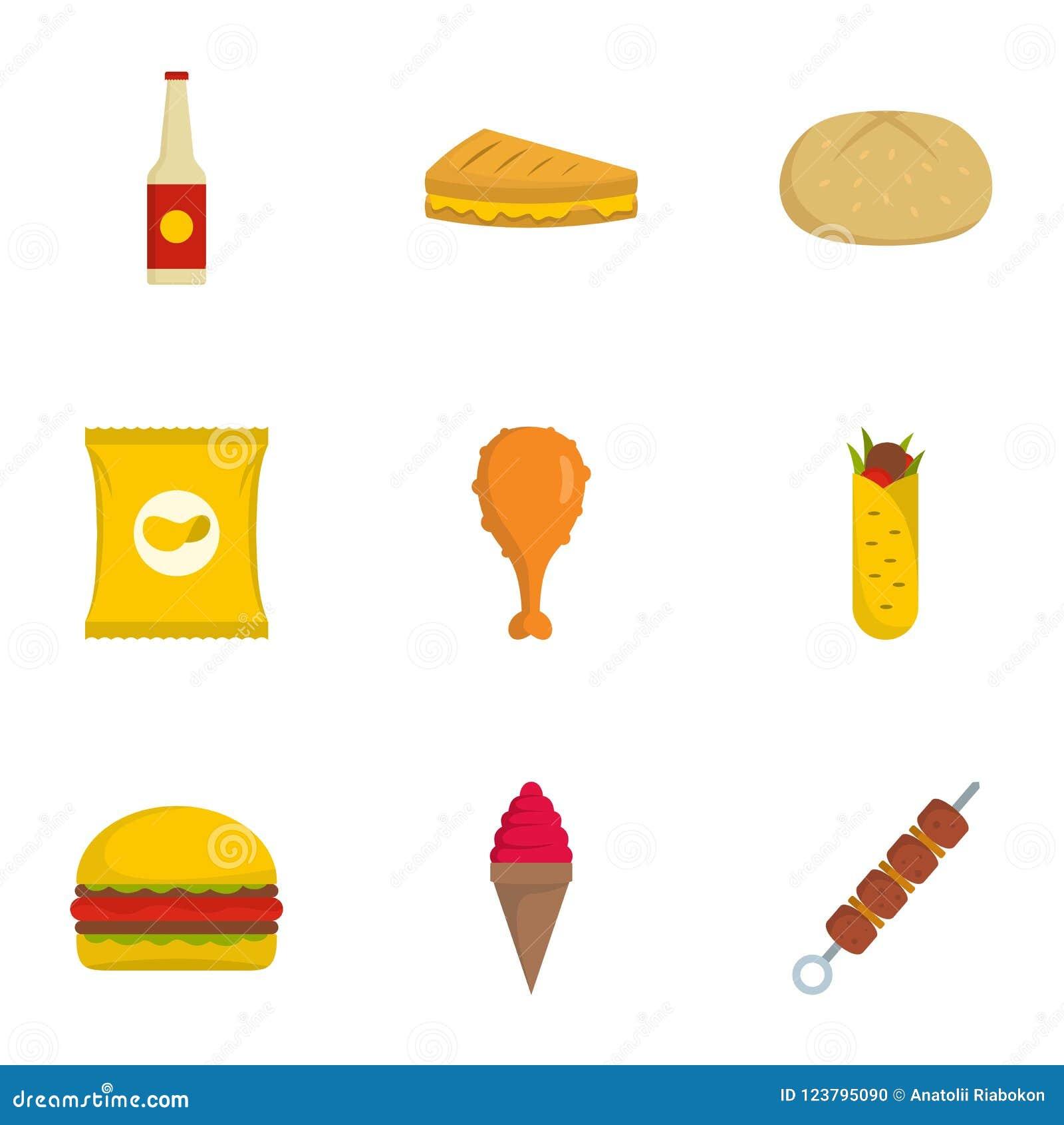 Mangez les icônes réglées, style plat