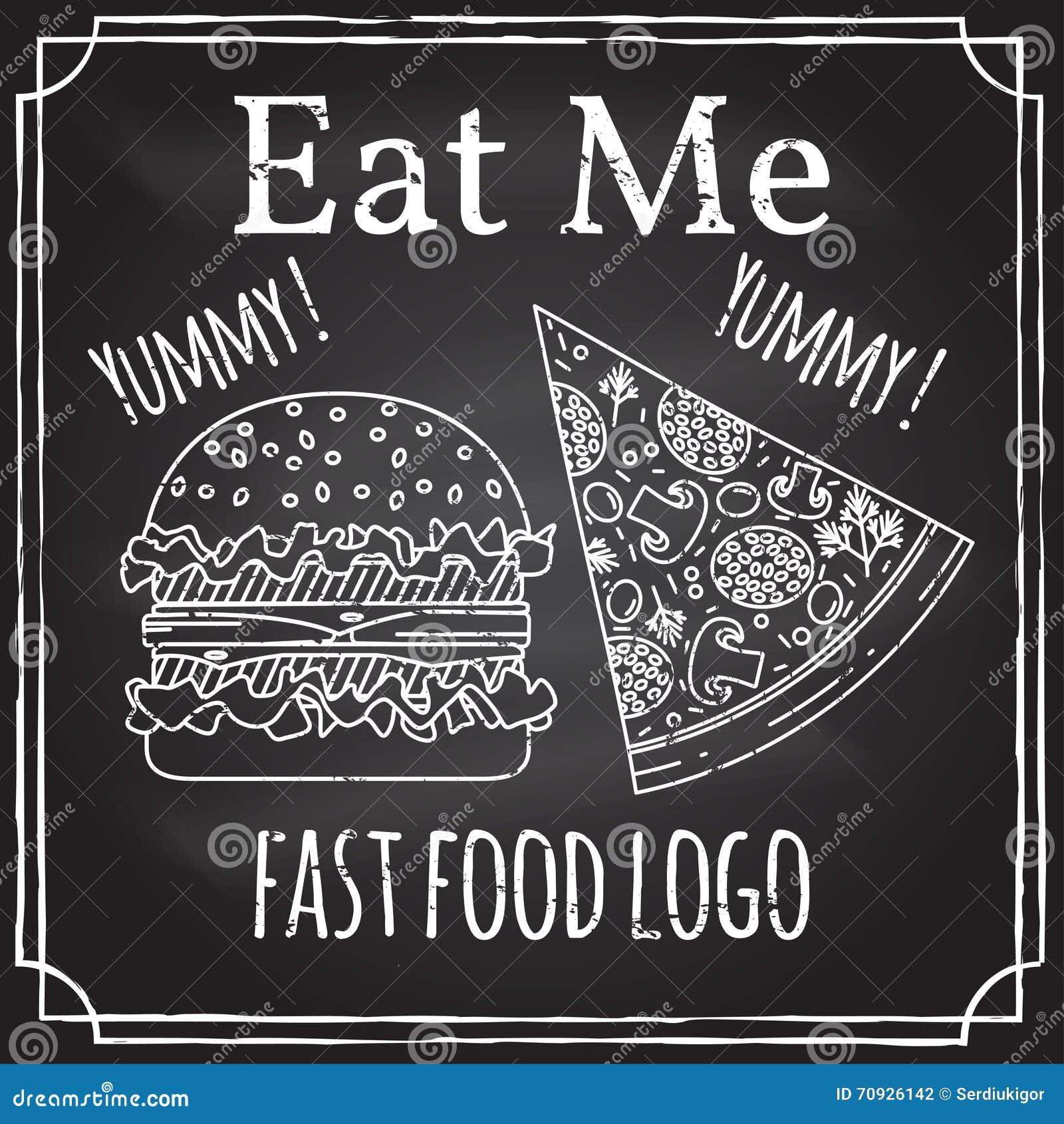 Mangez-moi Éléments sur le thème de la restauration Dessin de craie sur un tableau noir Logo, stigmatisant, logotype, insigne ave