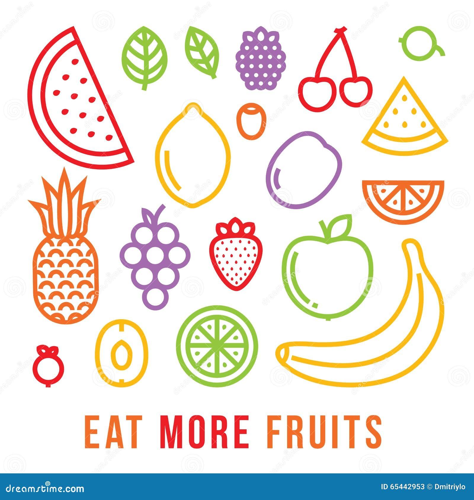 Mangez plus de carte de motivation de vecteur de fruits