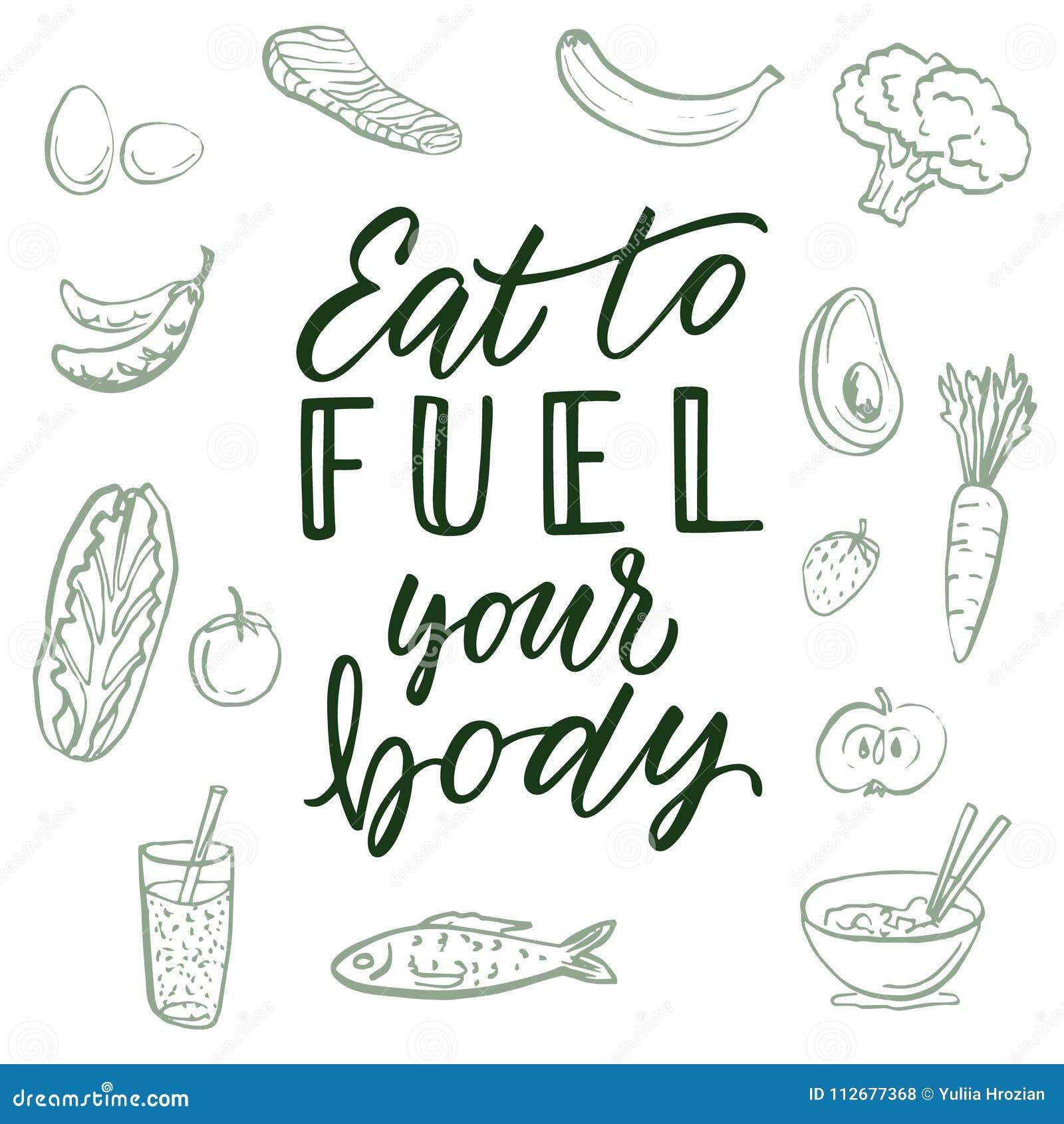 Mangez pour alimenter votre corps ! Citation et fond calligraphiques au sujet de la consommation saine