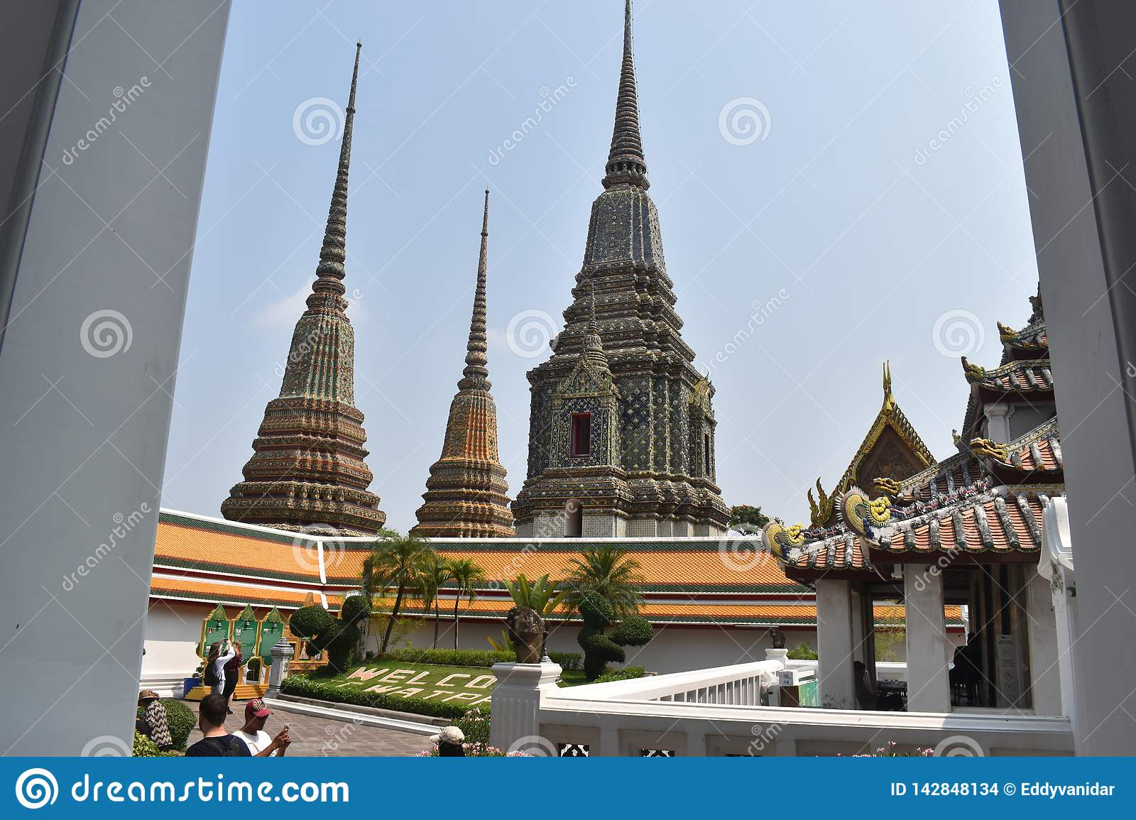 Beautiful pagodas Wat Pho, one of most famous in Thailand